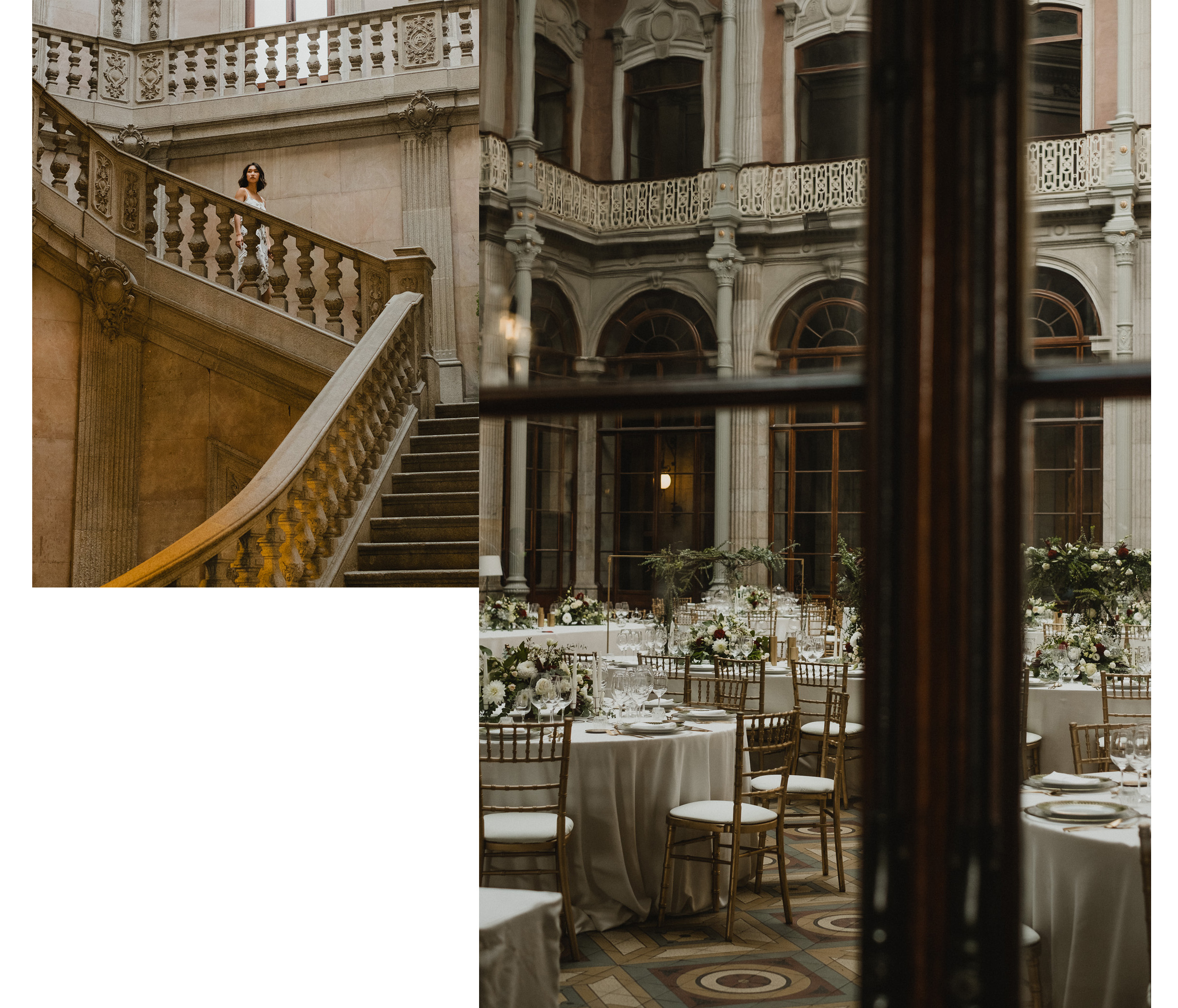 Left:  the beautiful staircases at Palacio da Bolsa ;   Right:  Some lucky couple rented out the main foyer of the palace as their wedding venue.