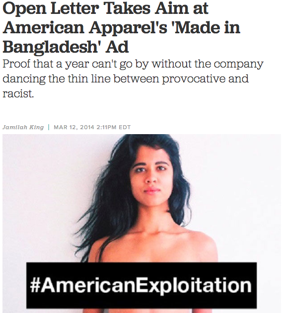 Open Letter Takes Aim at American Apprarel's 'Made in Bangladesh' Ad | Colorlines   (Mar 2014)