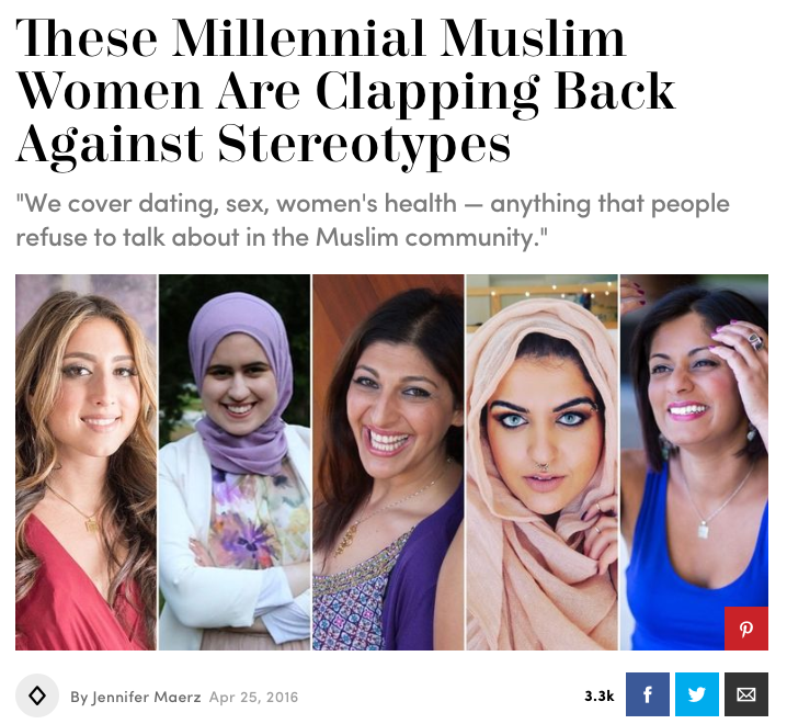 These Millennial Muslim Women Are Clapping Back Against Stereotypes|Cosmopolitan   (April 2016)