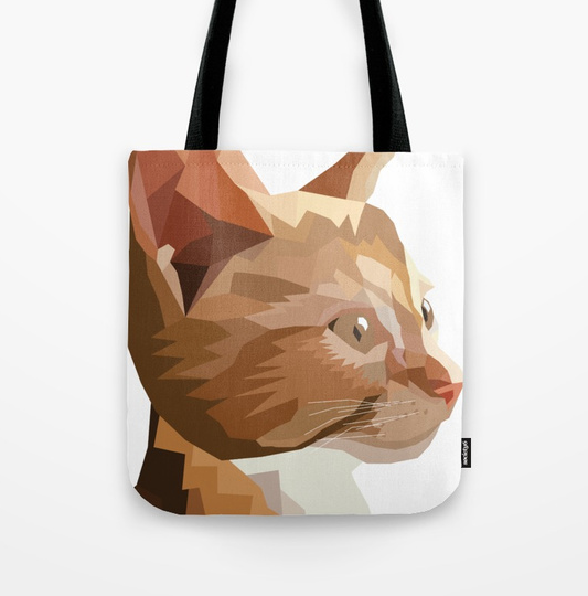Geometric Kitten Tote Bag available on Society6
