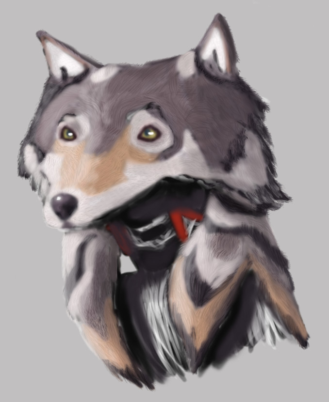 A wolf-headdress designed for a wild child character.
