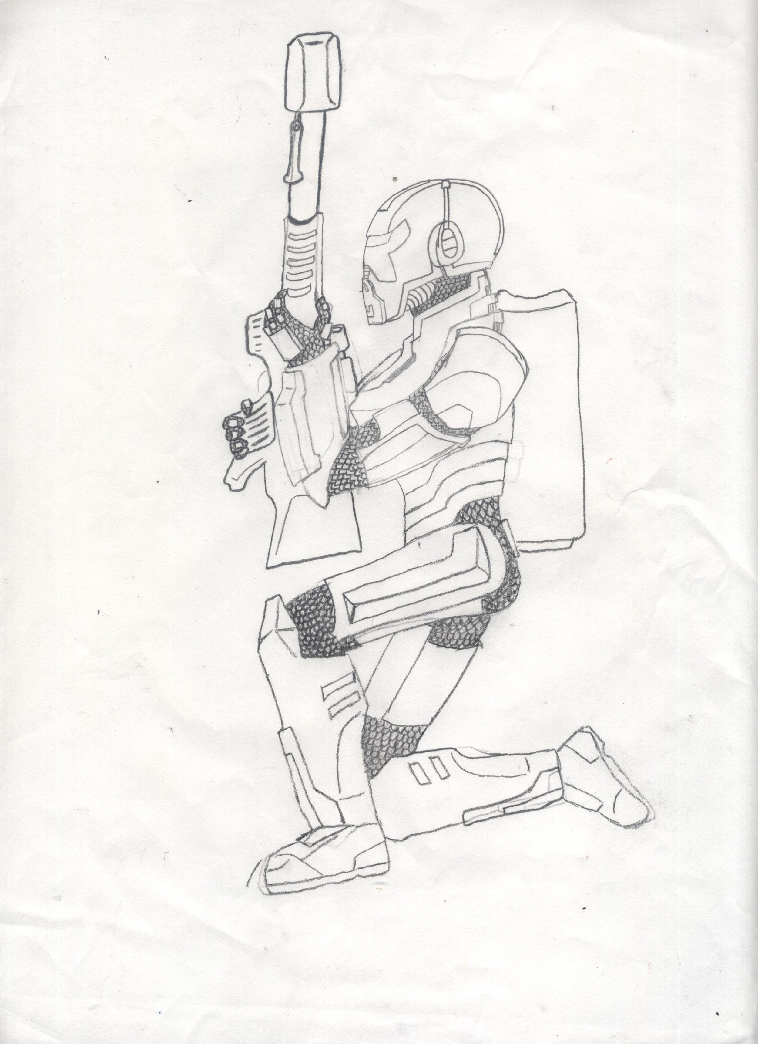 A bounty hunter character used as a reference for a sculpture.
