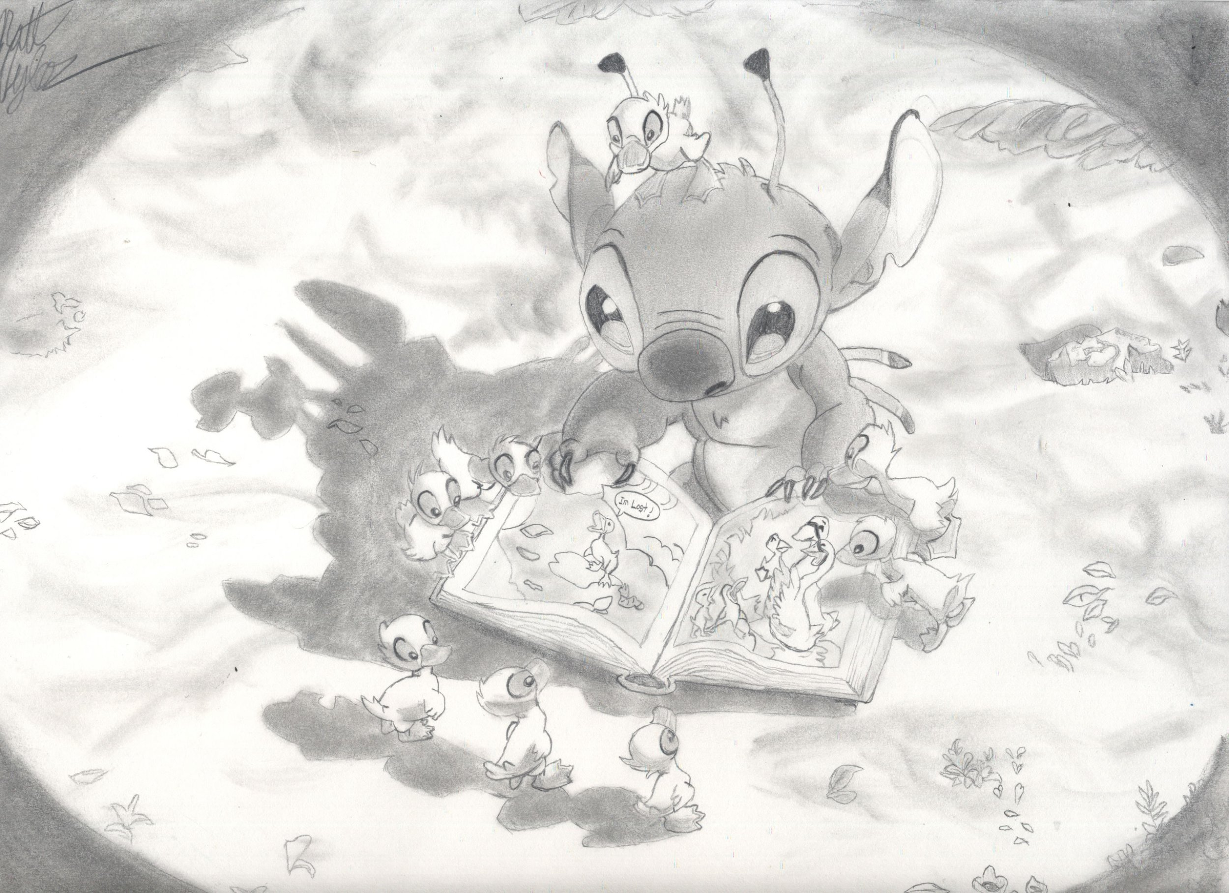 """A drawing of Stitch from the film """"Lilo & Stitch"""". Based off of a drawing from the end credits of the movie."""
