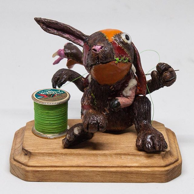 "Corporal Stitches makes his debut @mothershiptoygallery tonight for the opening of ""What's With all the Rabbits?"" Tonight from 6-10.  #creature #monster #sculpy #rabbit"