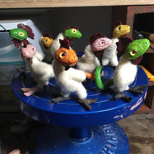 My children are nearly ready! Working on a flock of basilisks for Connecticon. #sculpture #monster #needlefeltedanimal #mythology #connecticon2019