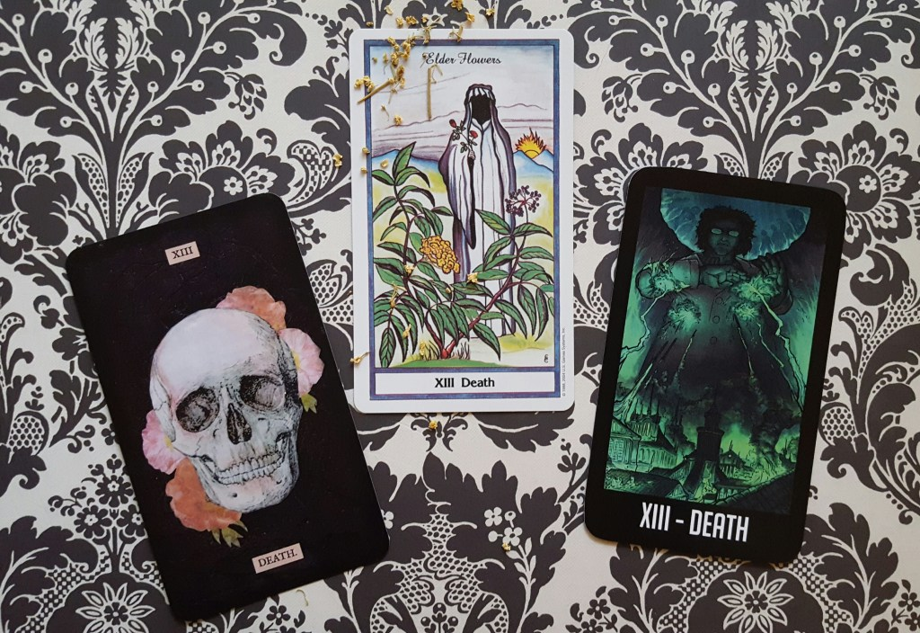 Death (Stretch, Herbal, and Welcome to Nightvale tarot decks)