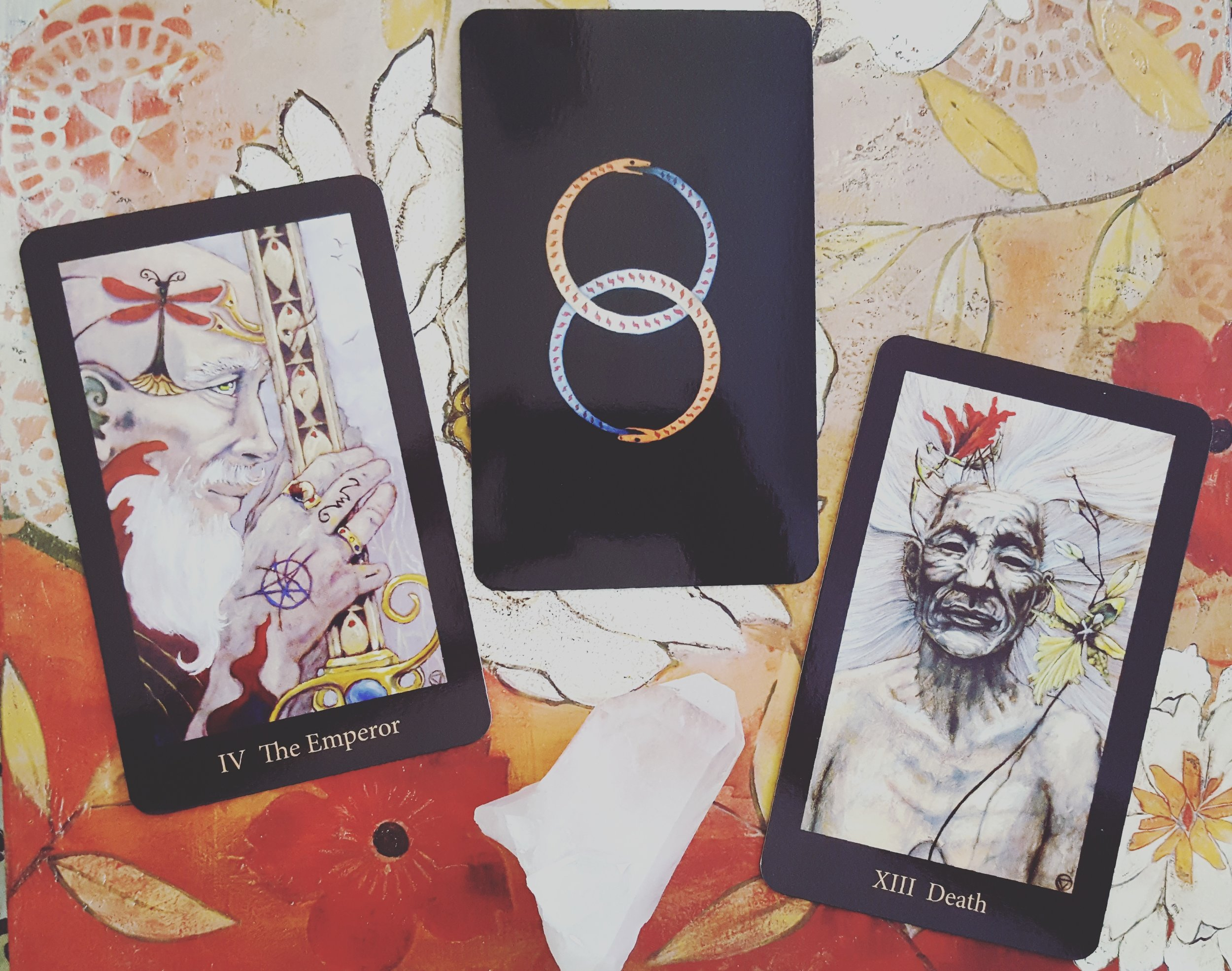 The first cards I look for in any deck, my birth cards, and the lovely twin ouroboros backing.