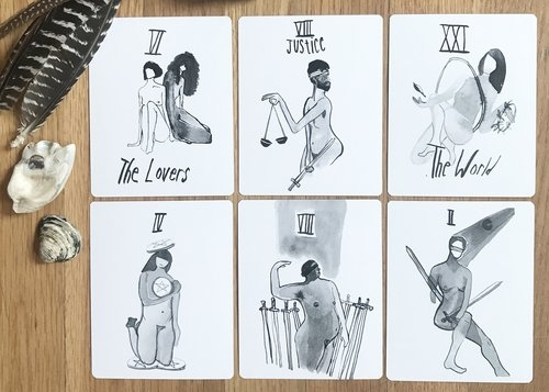 Cards from the Starved City Tarot, pic from Meadow Queen