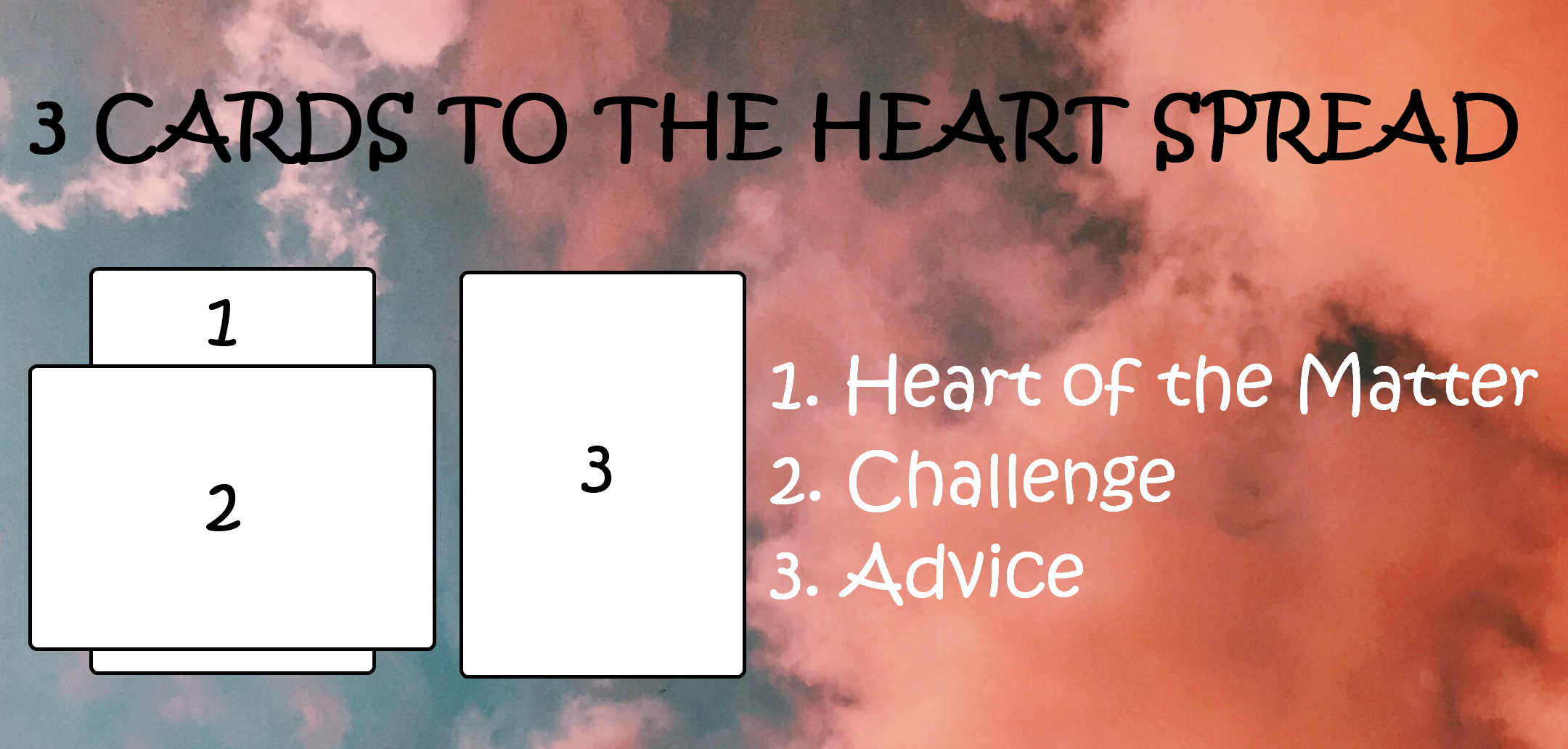 3 Cards To The Heart Spread  1. Heart of the Matter 2. Challenge 3. Advice