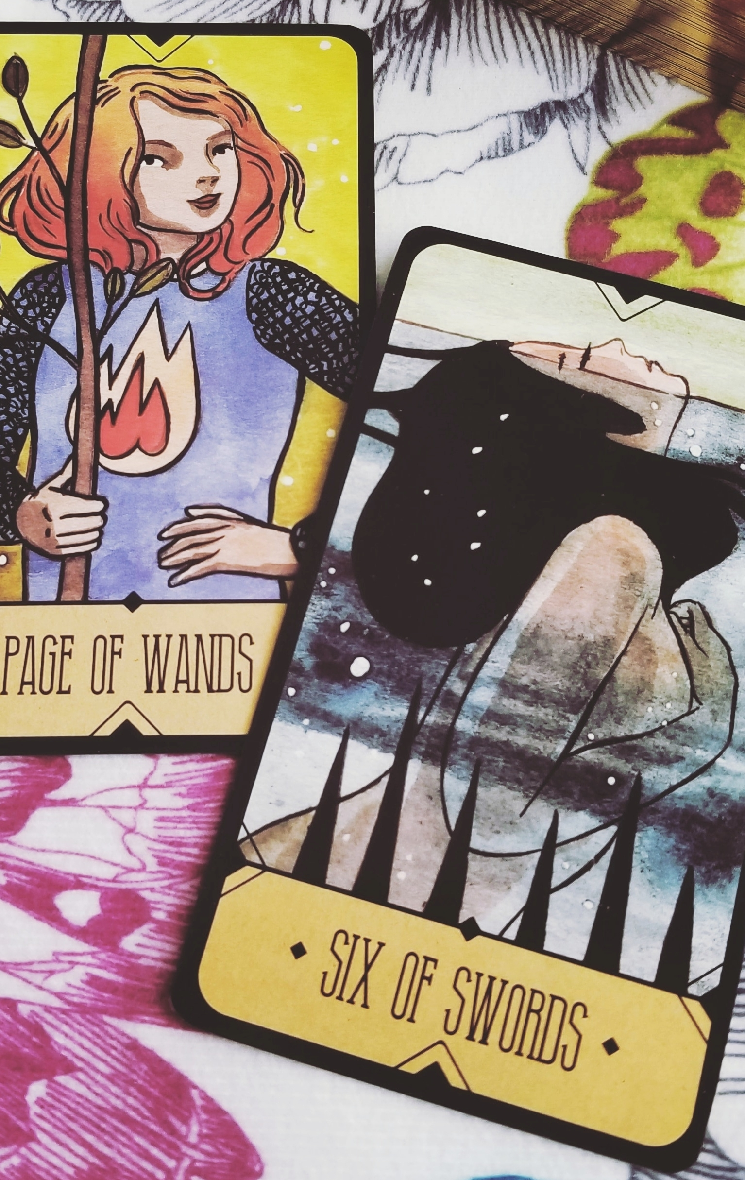 Page of Wands and Six of Swords from the Sasuraibito Tarot