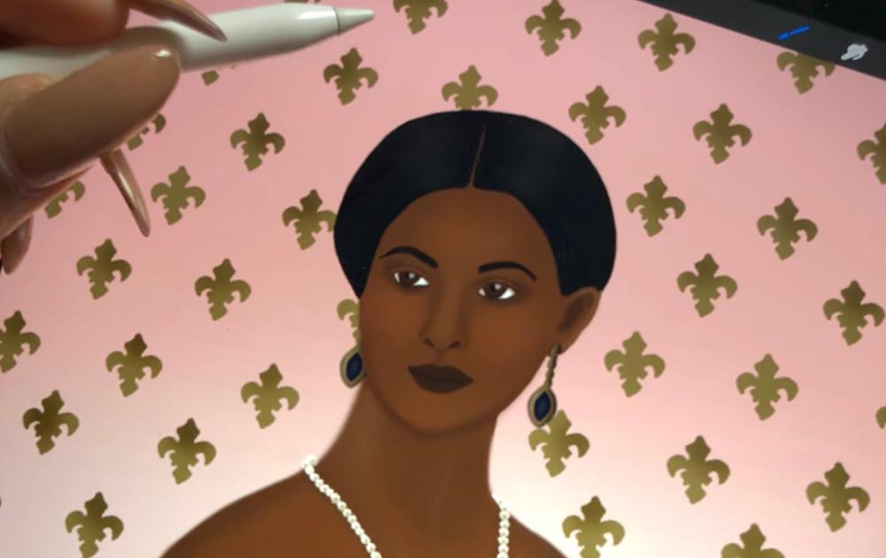 The Kaleidadope Tarot's Queen of Coins looking regal as fuh!