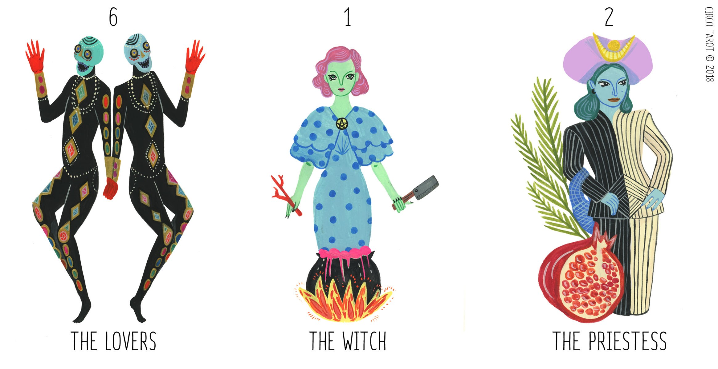 a forthcoming hand-painted deck from Marisa, whose High Priestess has me sprung already!