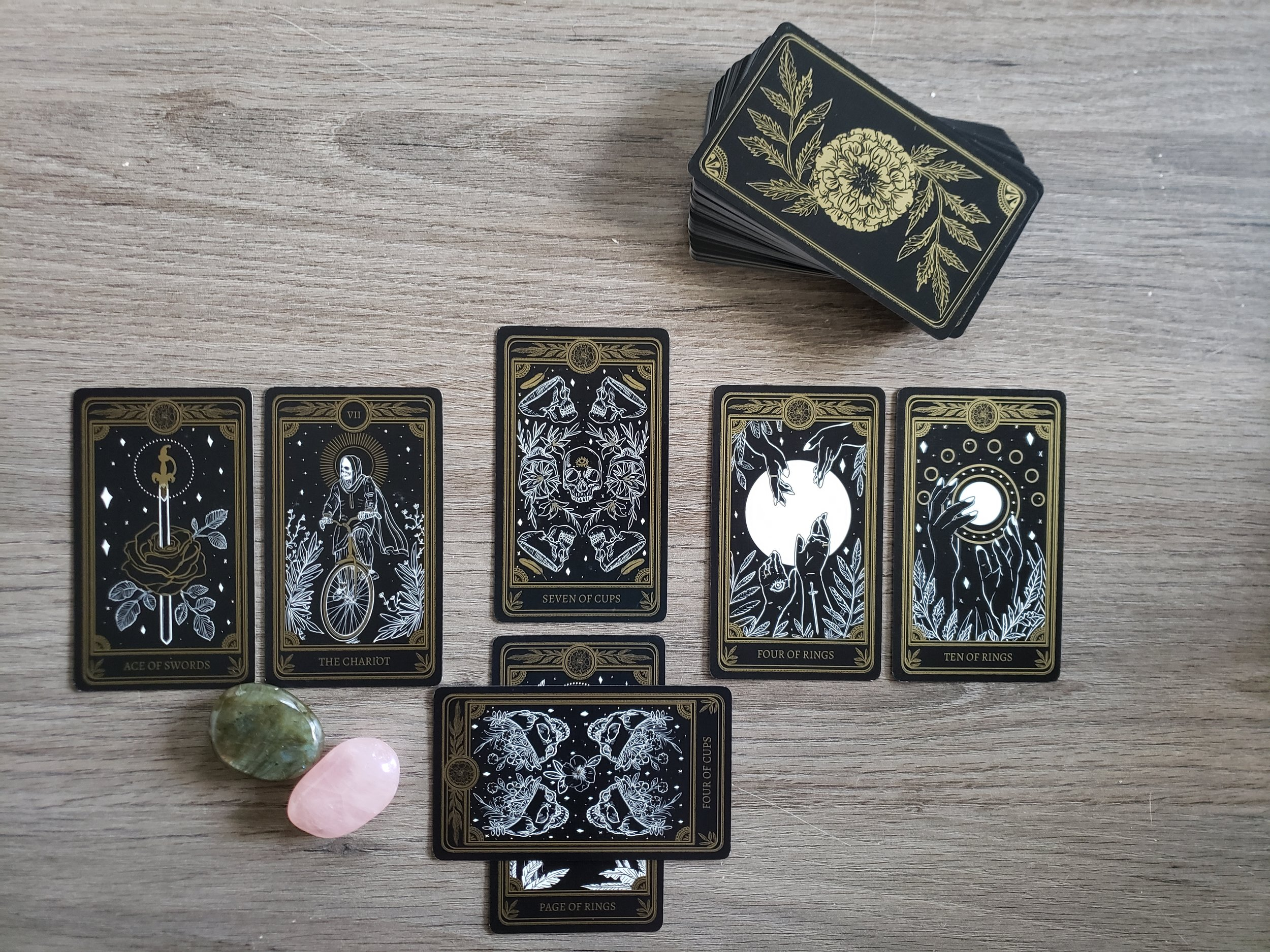 my own reading using this spread with the glorious Marigold Tarot; told you I was too deep in my mind- check out the Ace of Swords in the first position!