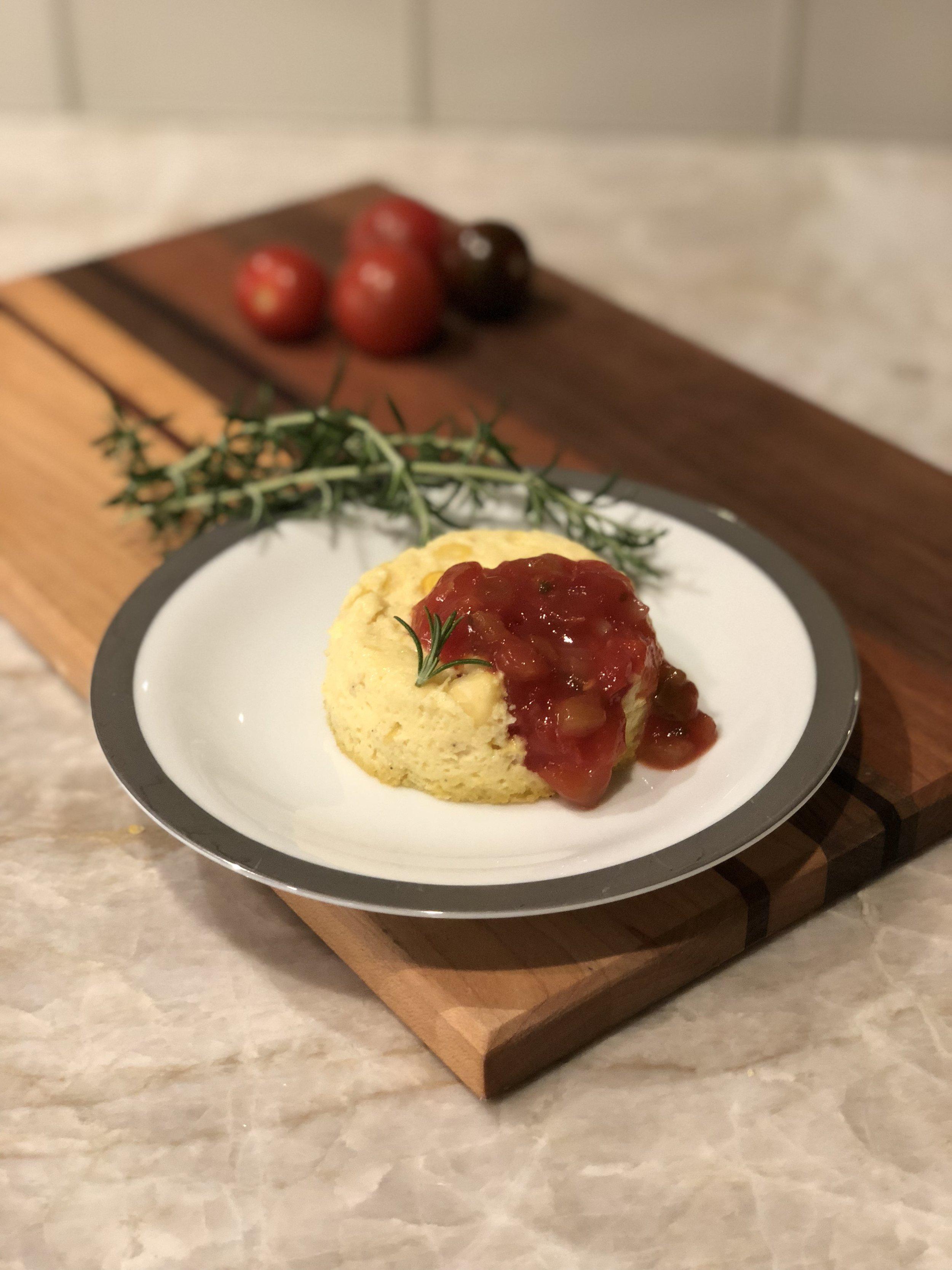 Timbale de Maïs frais avec sauce tomatoe Provençle  (Fresh Corn Timbale with Provencal Tomato Sauce)