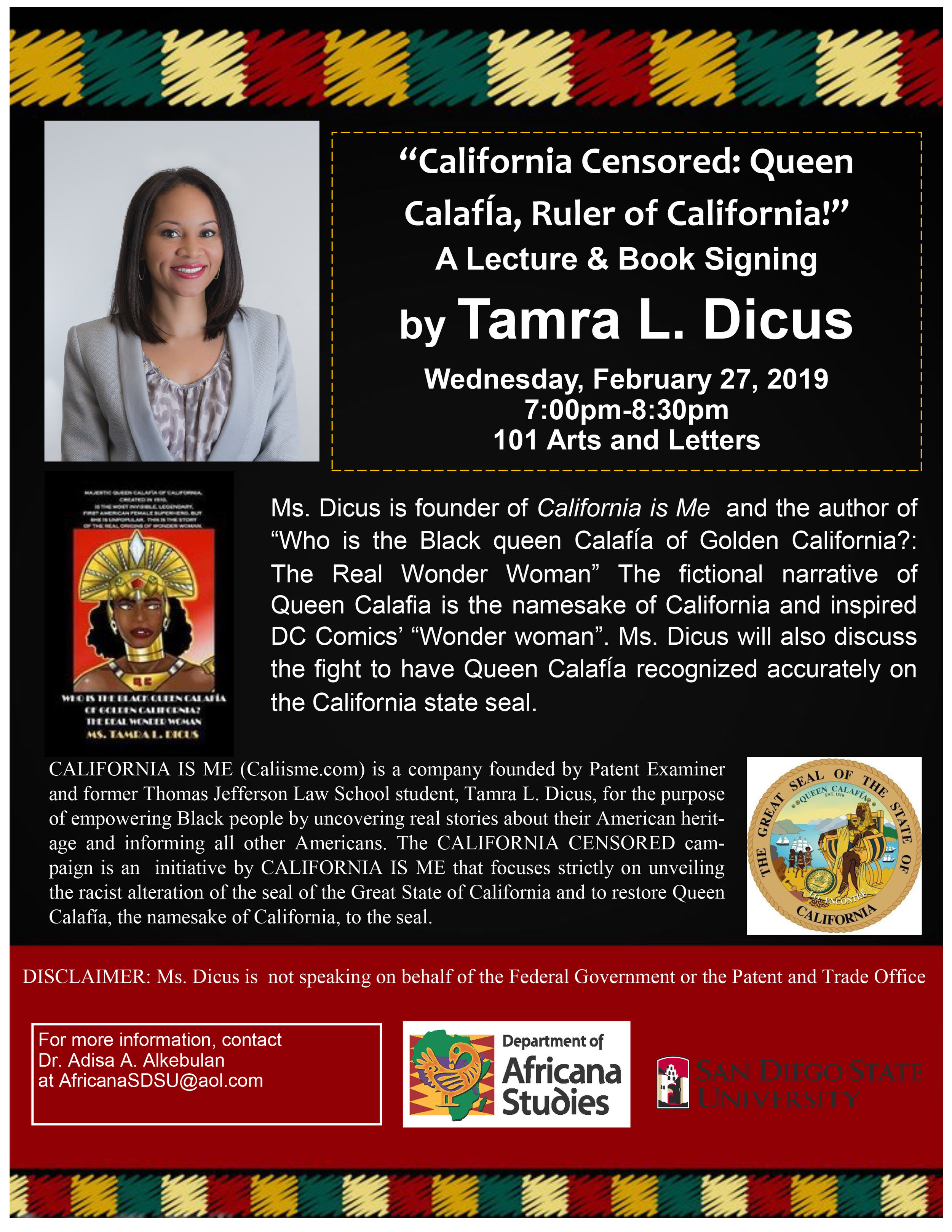 Tamra Dicus Flyer CALIFORNIA CENSORED at San Diego State University Wednesday Feb. 27.jpg