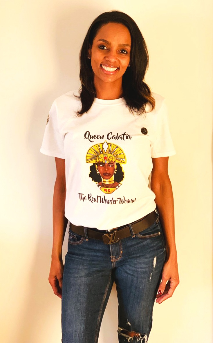 Source: CALIFORNIA IS ME. Queen Monica Gray, featured in the spirit of Queen Calafia of California for speaking out against injustice. Wearing CALIFORNIA IS ME EST. 1510 t-shirt. Jeans, jewelry, and belt, own.