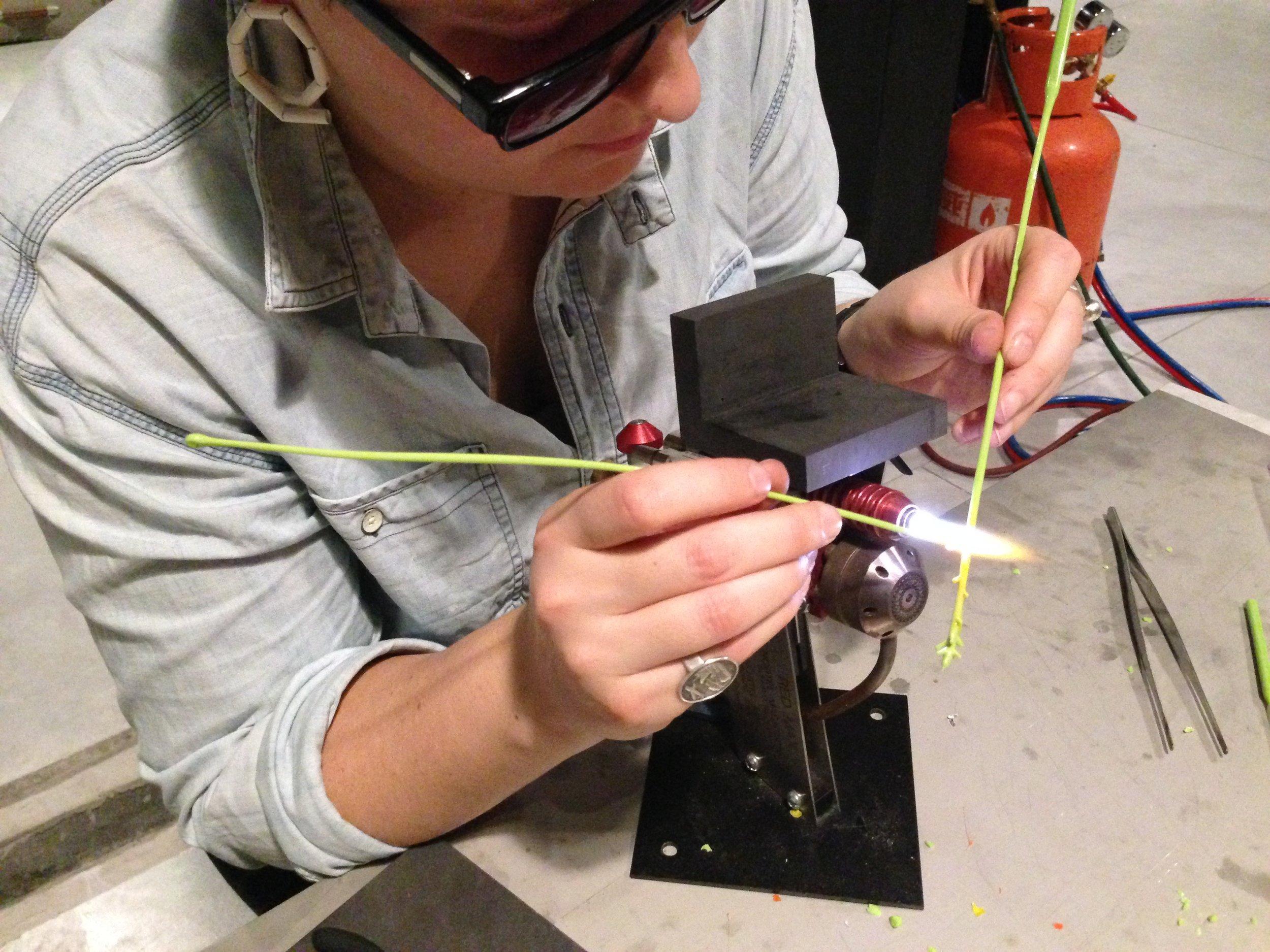 Jess Dare making small glass components