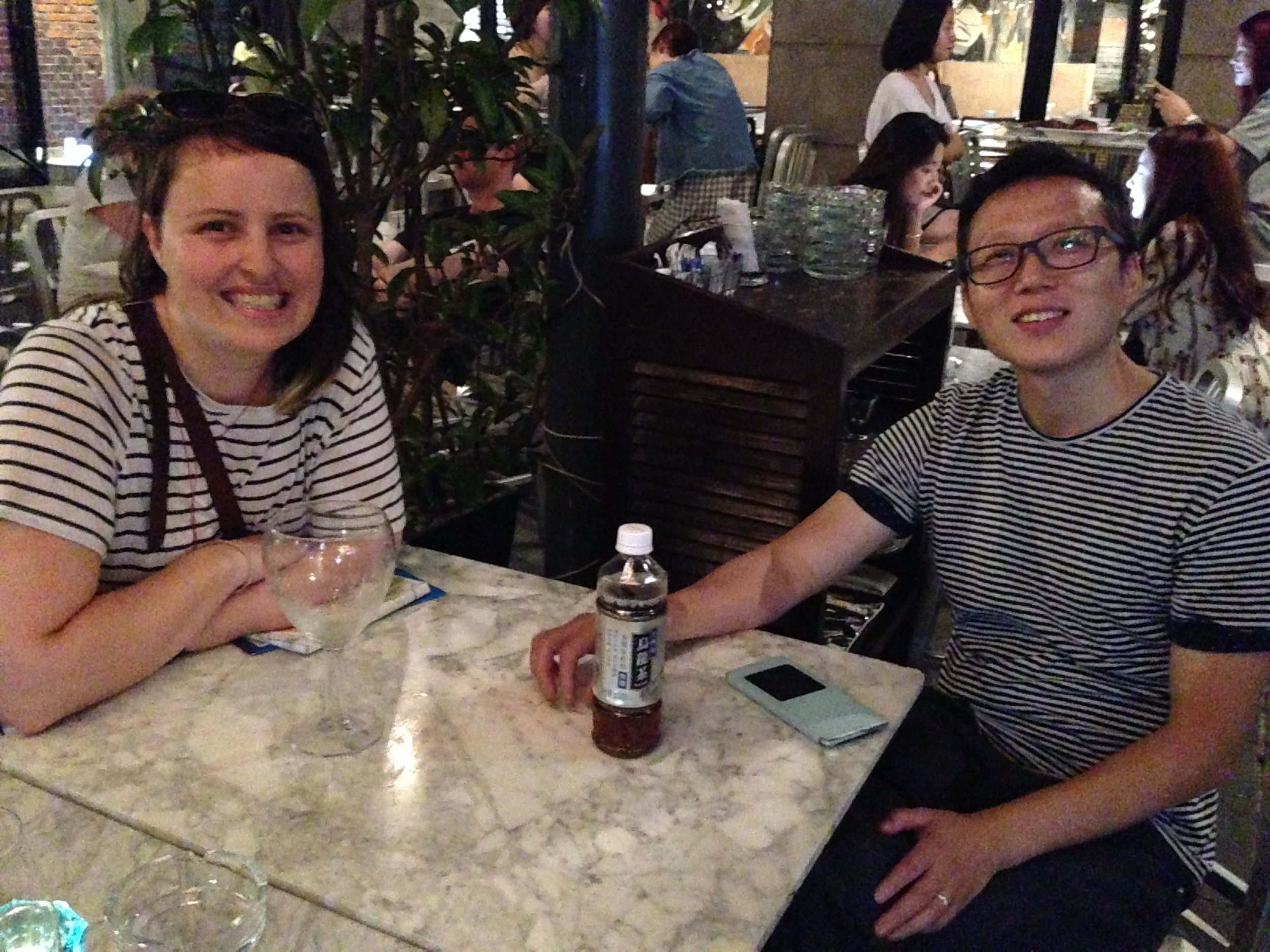 Jess Dare and Lie Wen enjoying a drink after visiting the Shanghai Museum