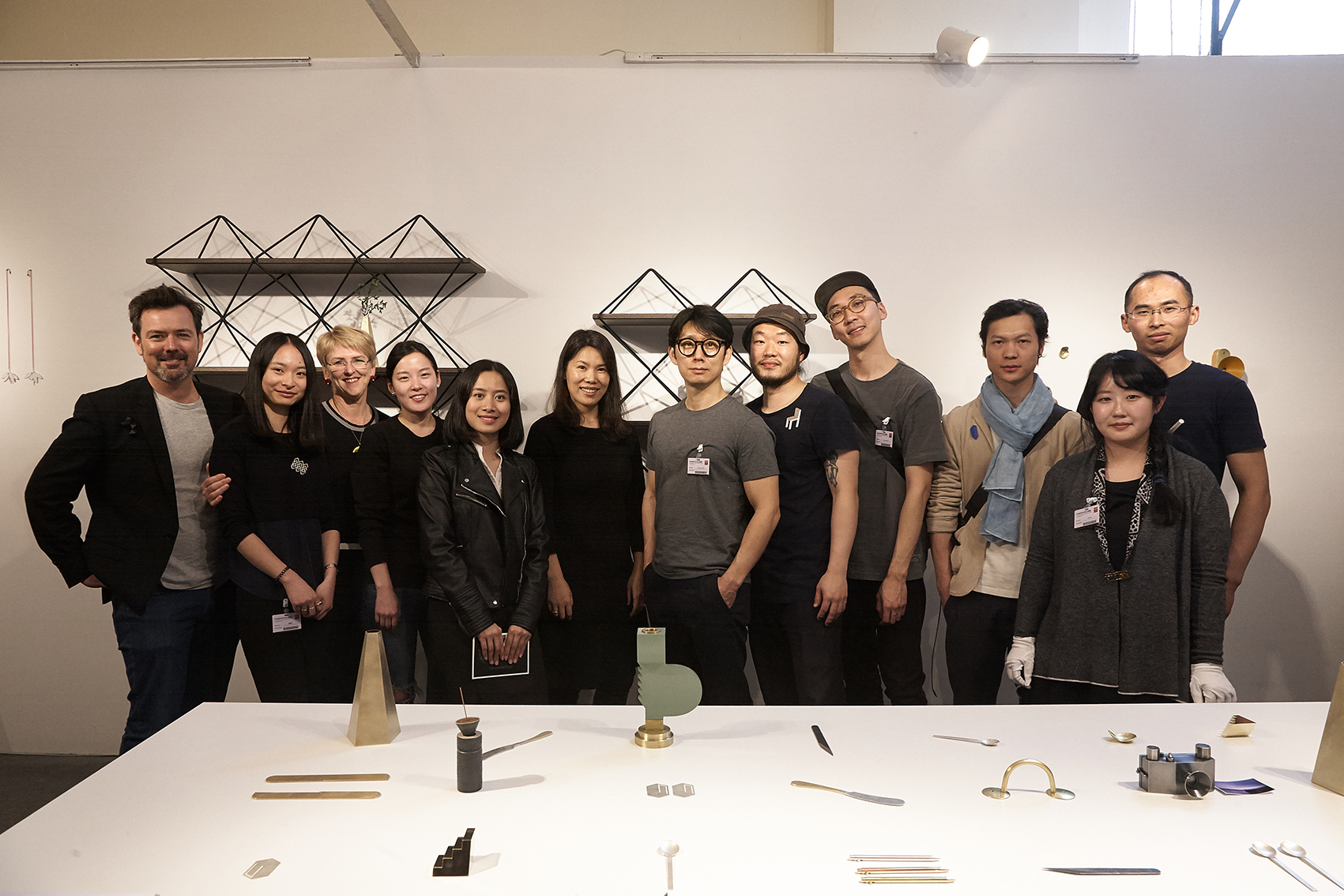 San W exhibition at  Design Shanghai 2017 , from left to right; Christian Hall, Ann Lai, Rae O'Connell,   Seonmin Hu, Lea Liao, Yiwei Wu,   Hyunseok Sim, Kenny Yong-soo Son,    Hyunsung Kim, Luo Xiao (罗骁  ), Lindsay Cheng and DC