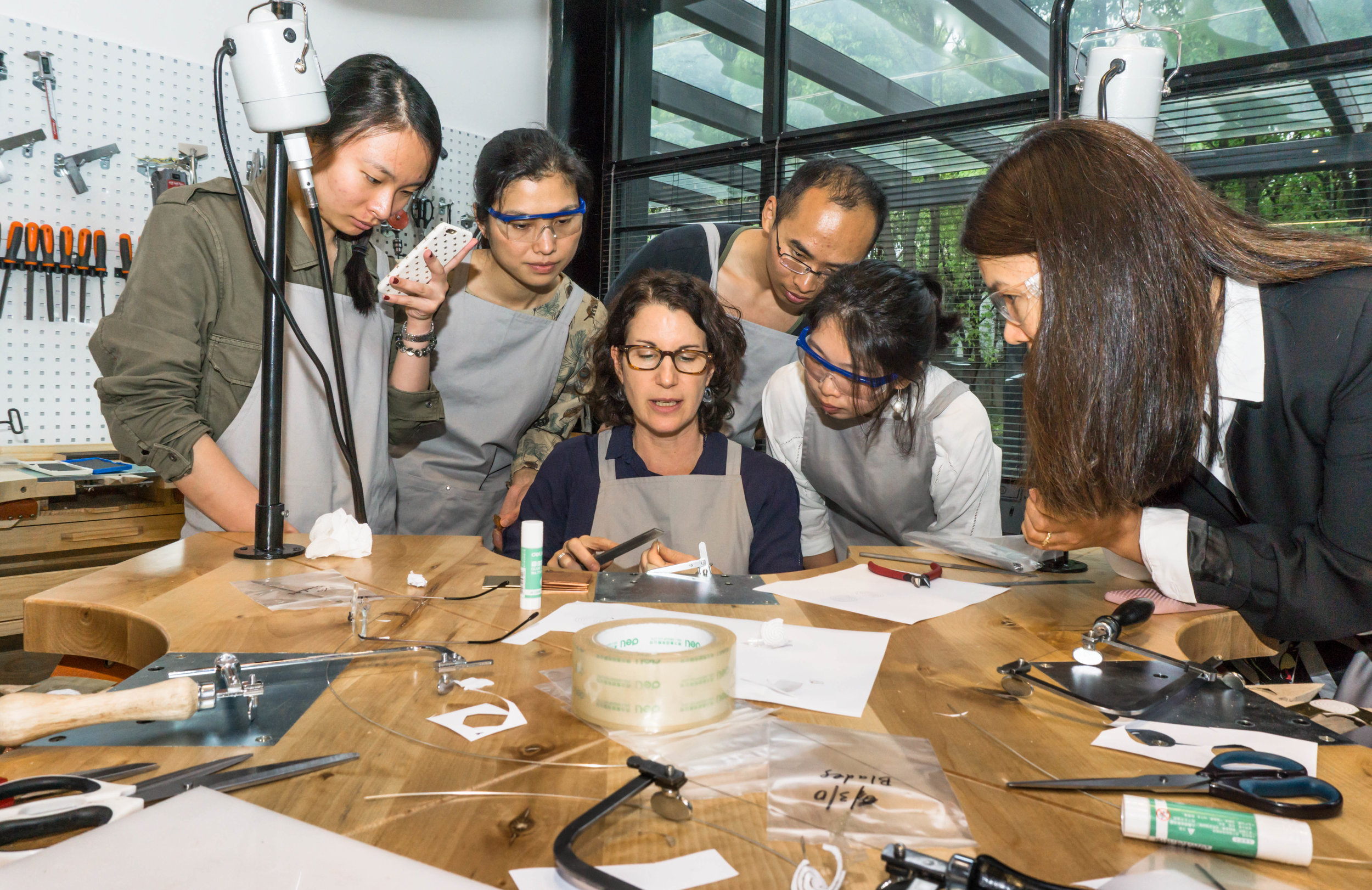 Leslie takes students through some of the fundamentals of jewellery making in the new San W Studio. Photographs above and four below by David Campbell