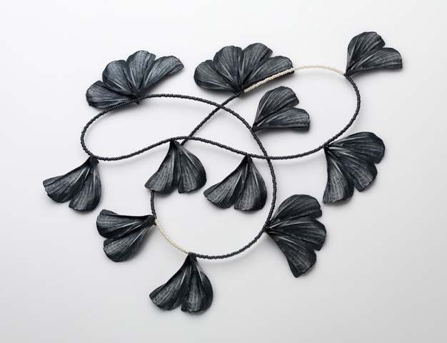 Bloom    2012 Sterling Silver Blackened, Silk Cord   350 x 180 x 40 mm   Photograph: Grant Hancock