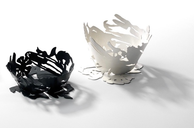 Light and Shadow  vessels 2014, Sterling Silver Blackened   400 x 200 x 50 mm   Photograph: Grant Hancock