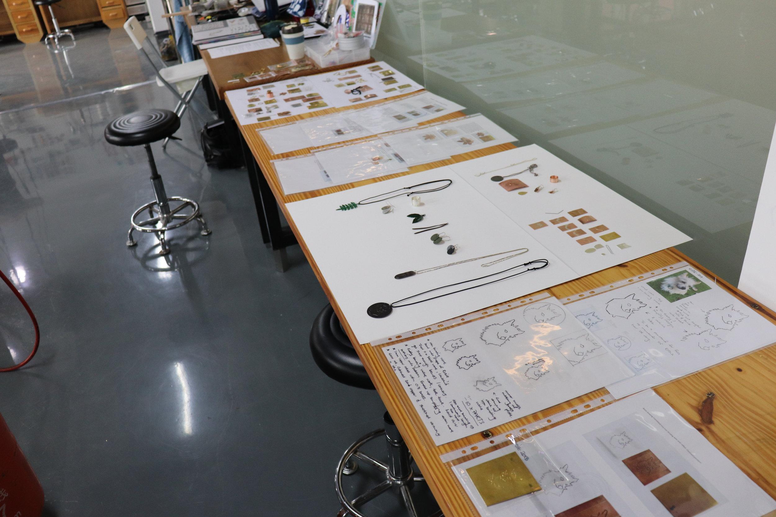 Samples and experiments displayed as part of Vicki Masons workshop  Photograph Vicki Mason