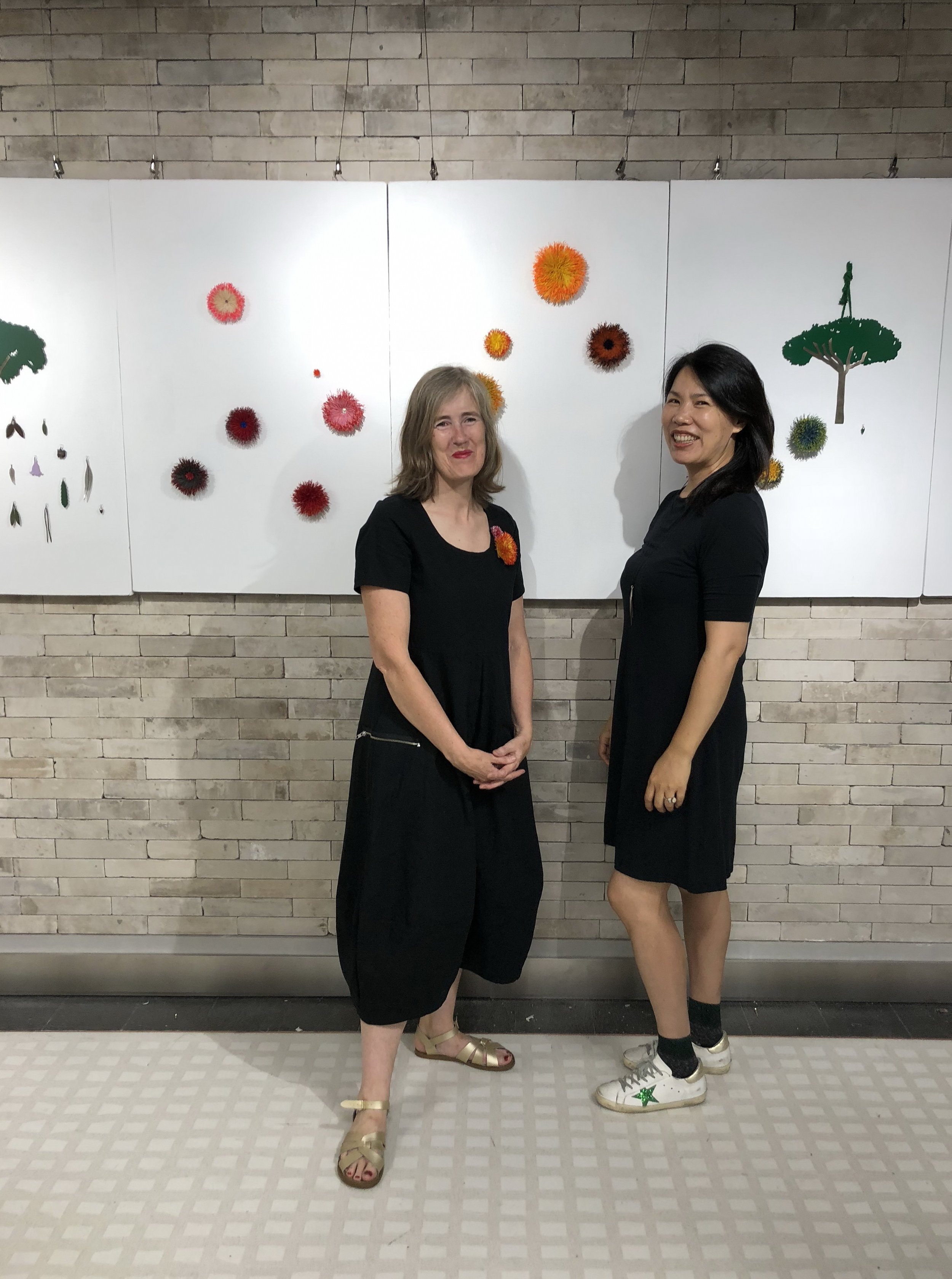Vickie Mason and Yiwei Wu at the opening of  The Trees Have Names  San W Gallery