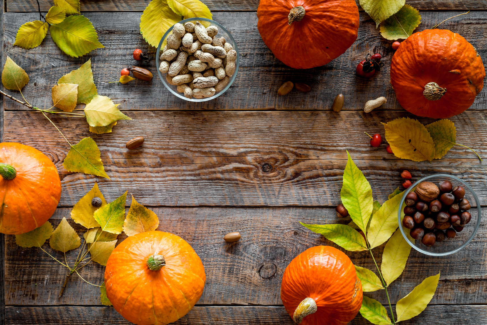 Pumpkins and nuts on a sideboard