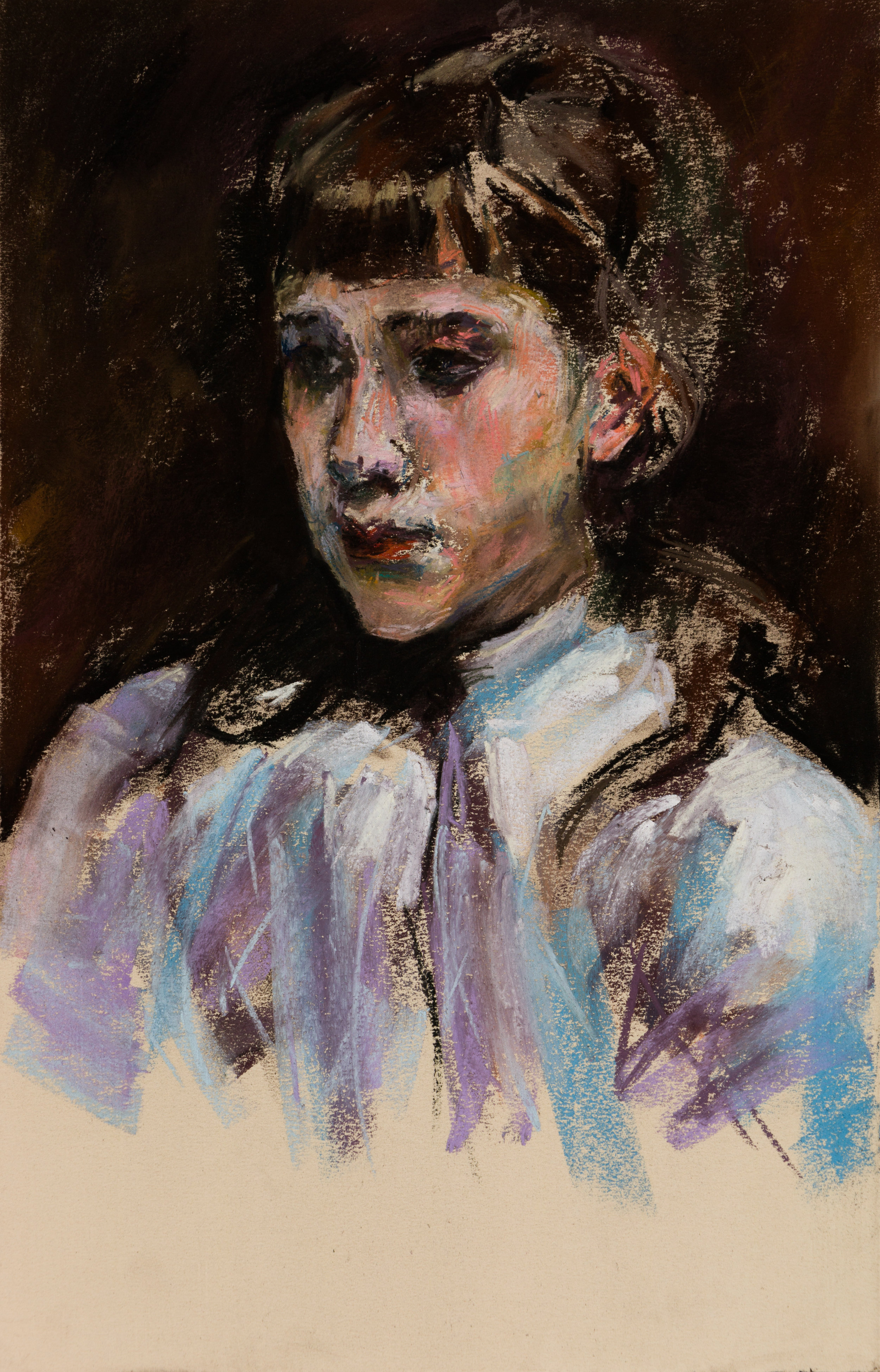 Pastel Study of Sargent's Young Girl Wearing a White Muslin Blouse