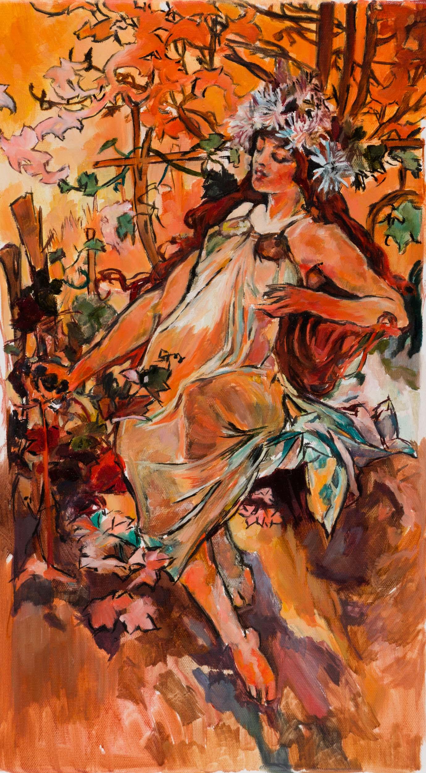 Oil Study of Mucha's Autumn