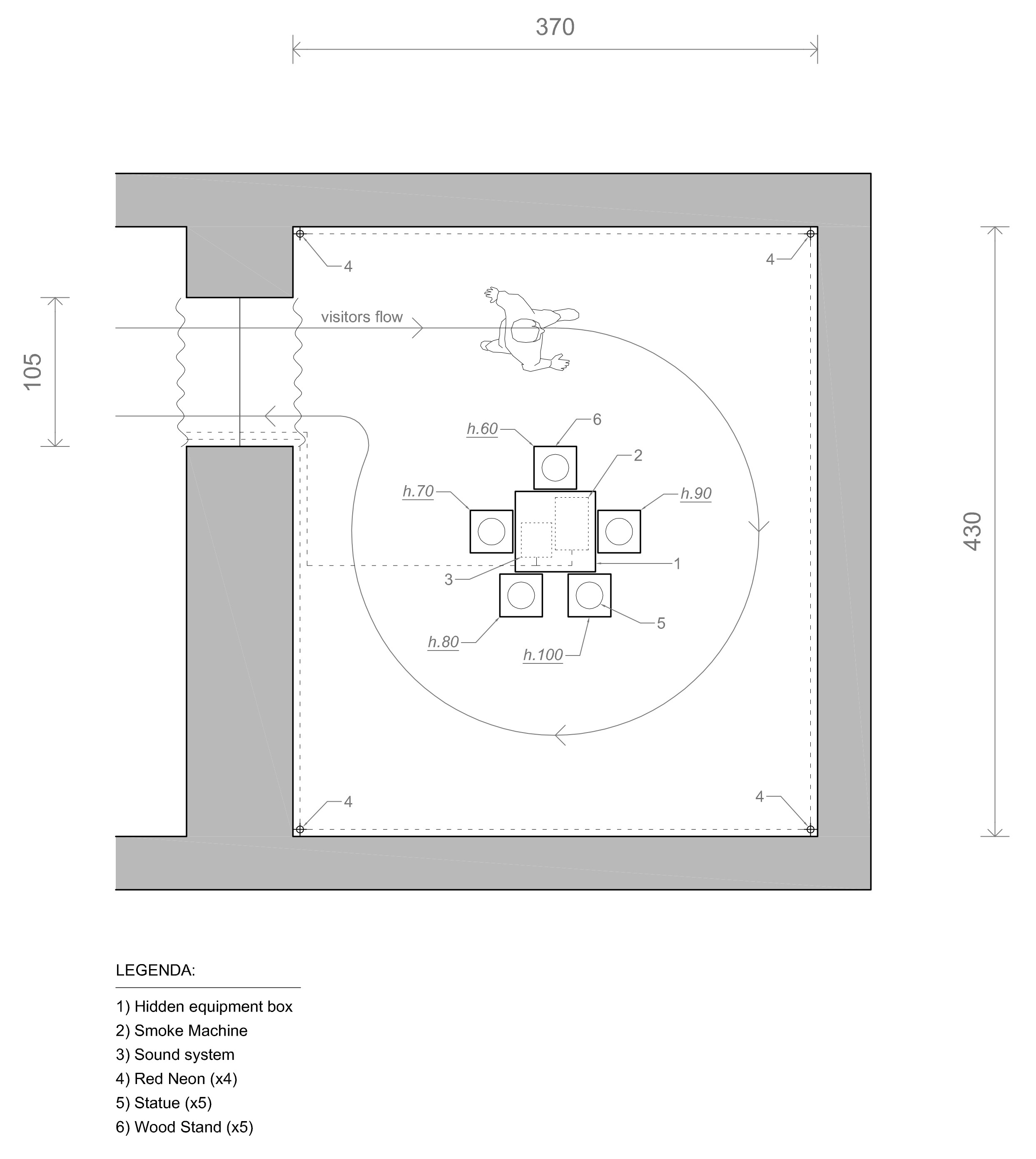 Room planning and design of the immersive installation