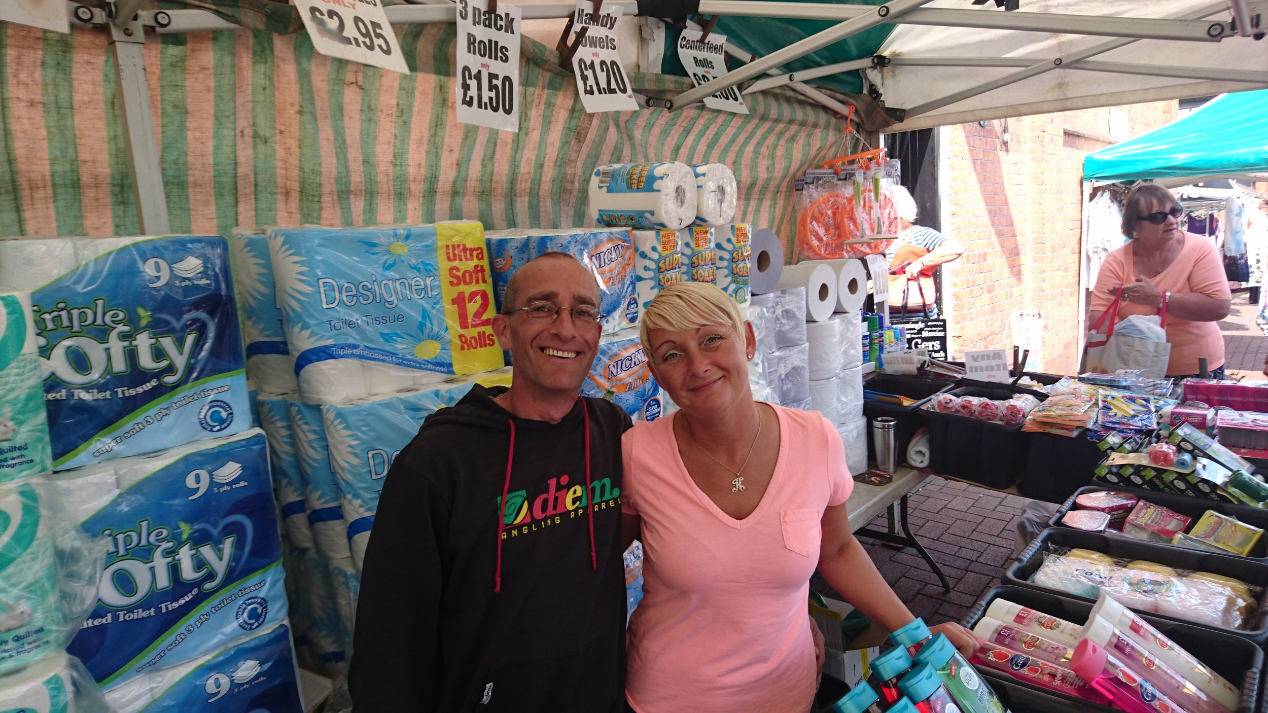 AJ & SM - Location: Outdoor MarketTrading: ThursdayContact: tony01270yahoo.co.ukHousehold toiletries and seasonal goods at affordable prices.