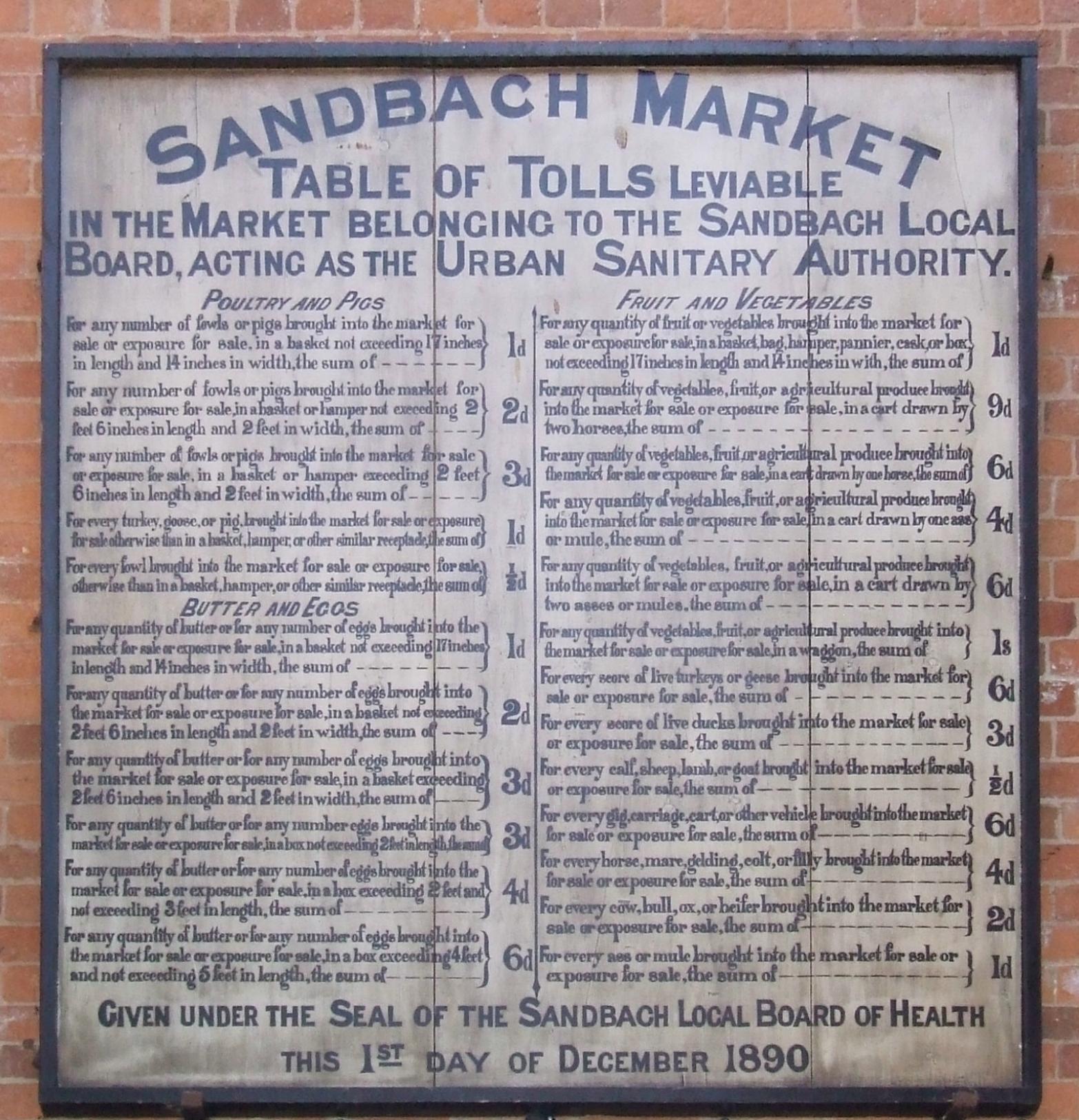 - Thursday Charter Market 8am-4pm Sandbach Town Centre and Market Hall Friday Market9am-2pm Sandbach Market Hall OnlySaturday Market 8am-4pm In and around the Market Hall