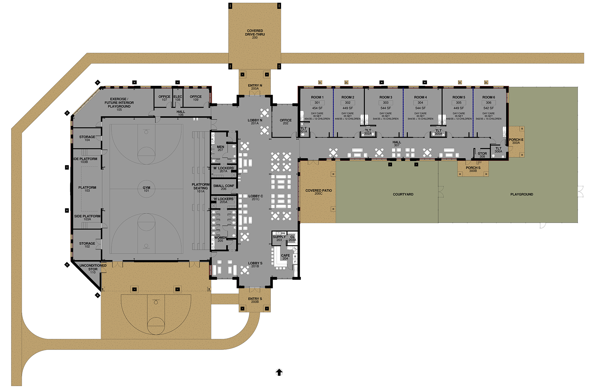 Floor plan of the initial community center building