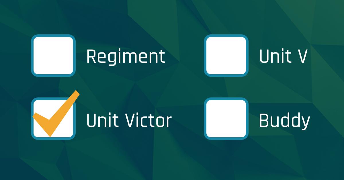 Verschillende app namen: Regiment, Unit V, Unit Victor en Buddy