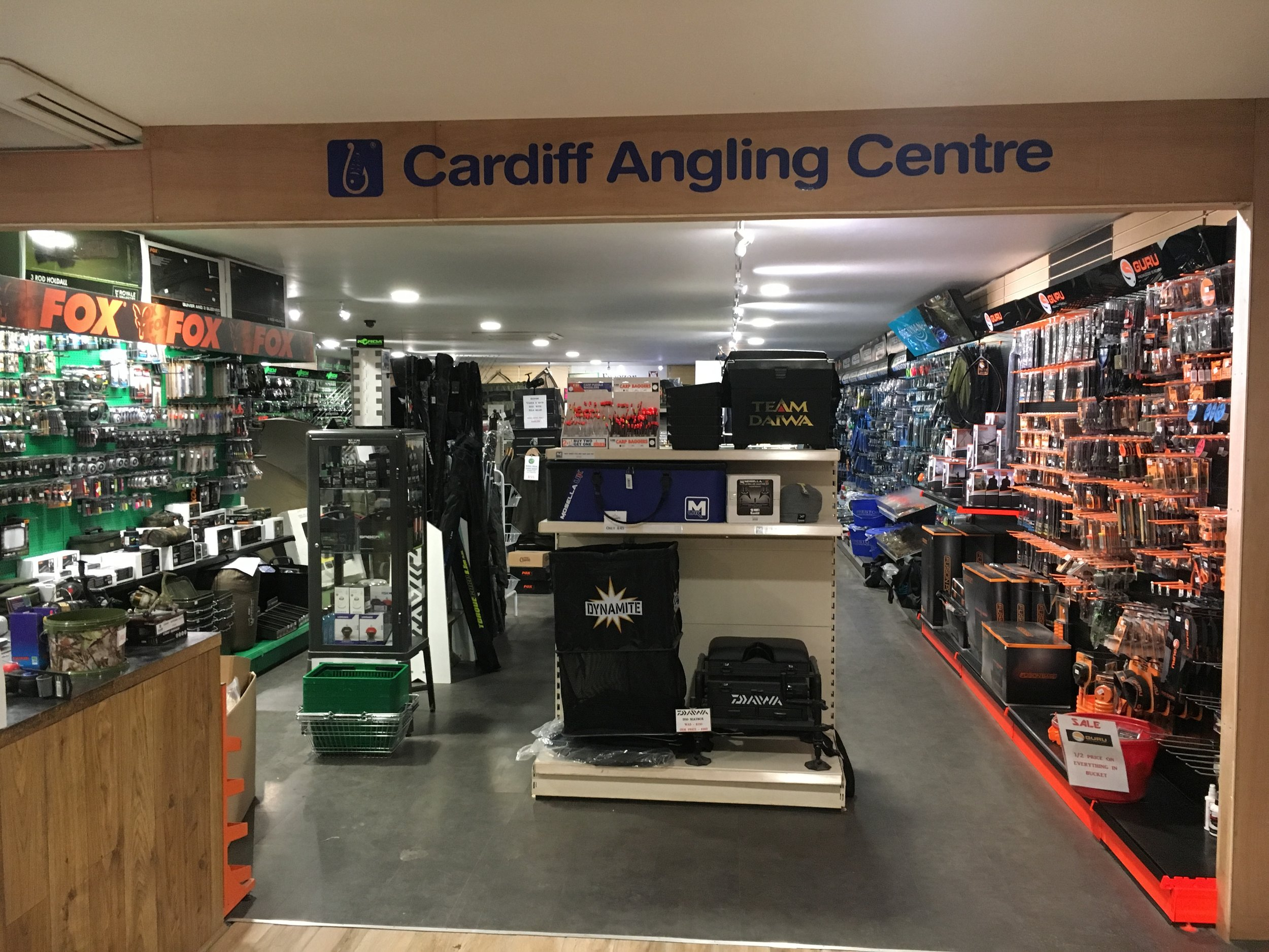 - Cardiff Angling Centre is our on site tackle shop that boast one of the best tackle stocks in South Wales. over 4500 square feet filled to the brim with Carp, Coarse tackle and bait.All top brands have a great showing instore  along with cheaper alternative offering something for everyoneAlso open 7 days a week from 7.30 in the morning