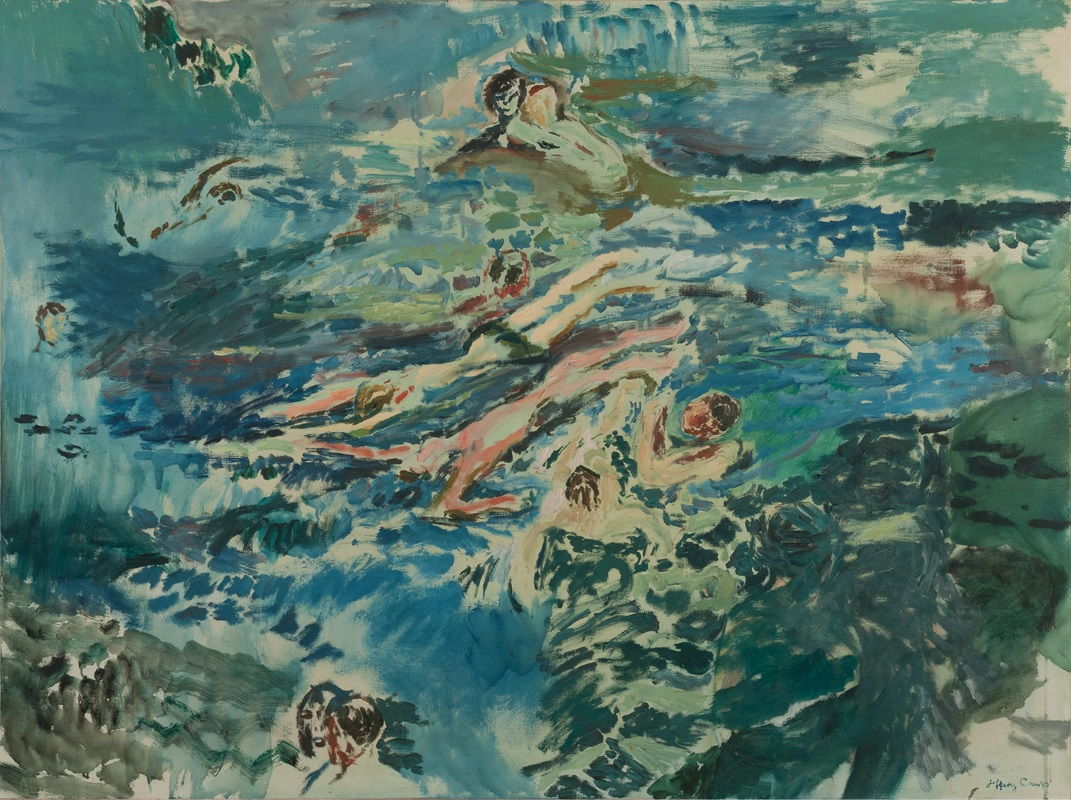 Jeffery Camp RA (b. 1923)  Swimming  1959, Jerwood Collection. Courtesy of the artist and  Art Space Gallery .