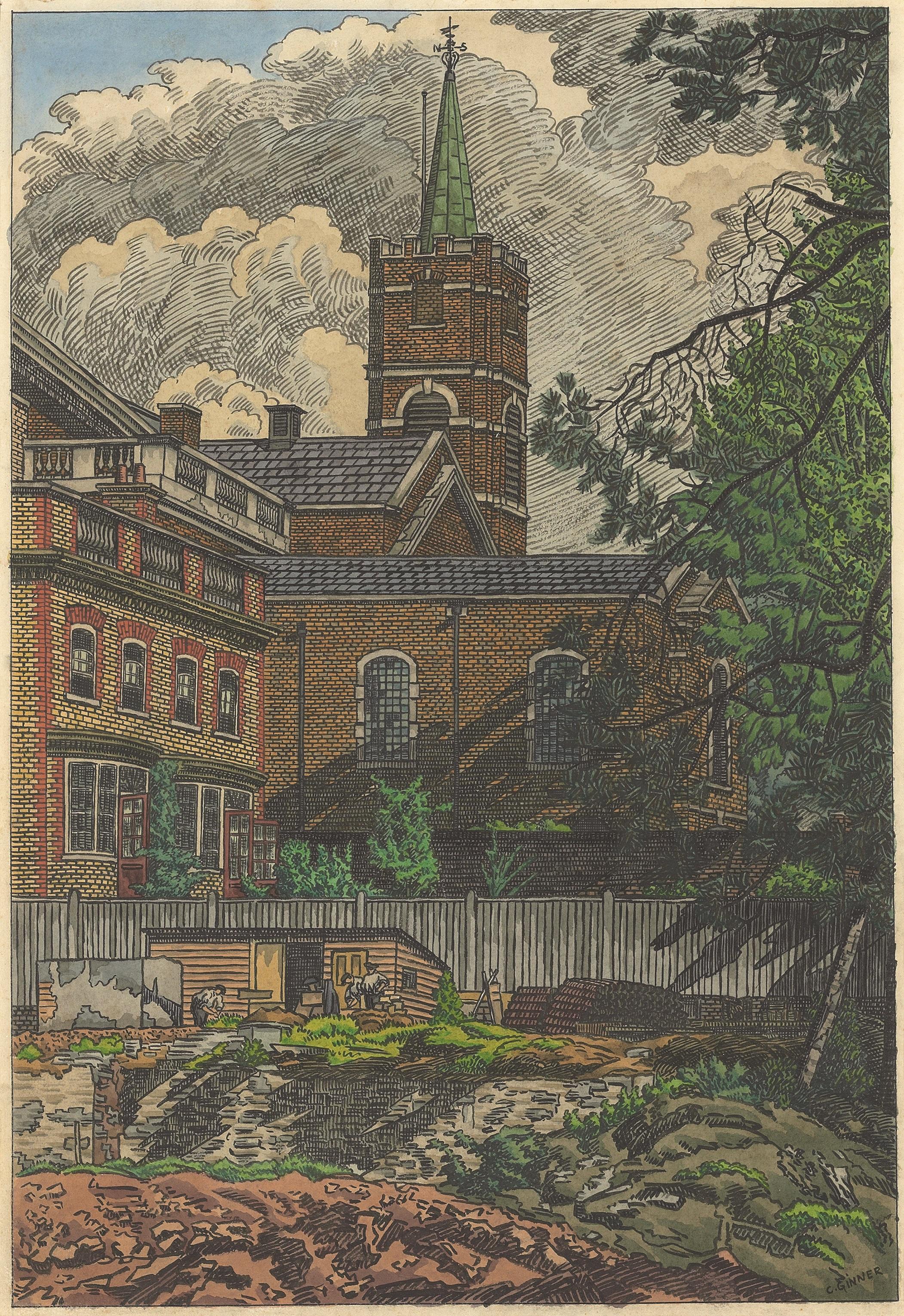 Charles Ginner ARA (1878-1952)  Hampstead Church  1928, © Jerwood Collection.