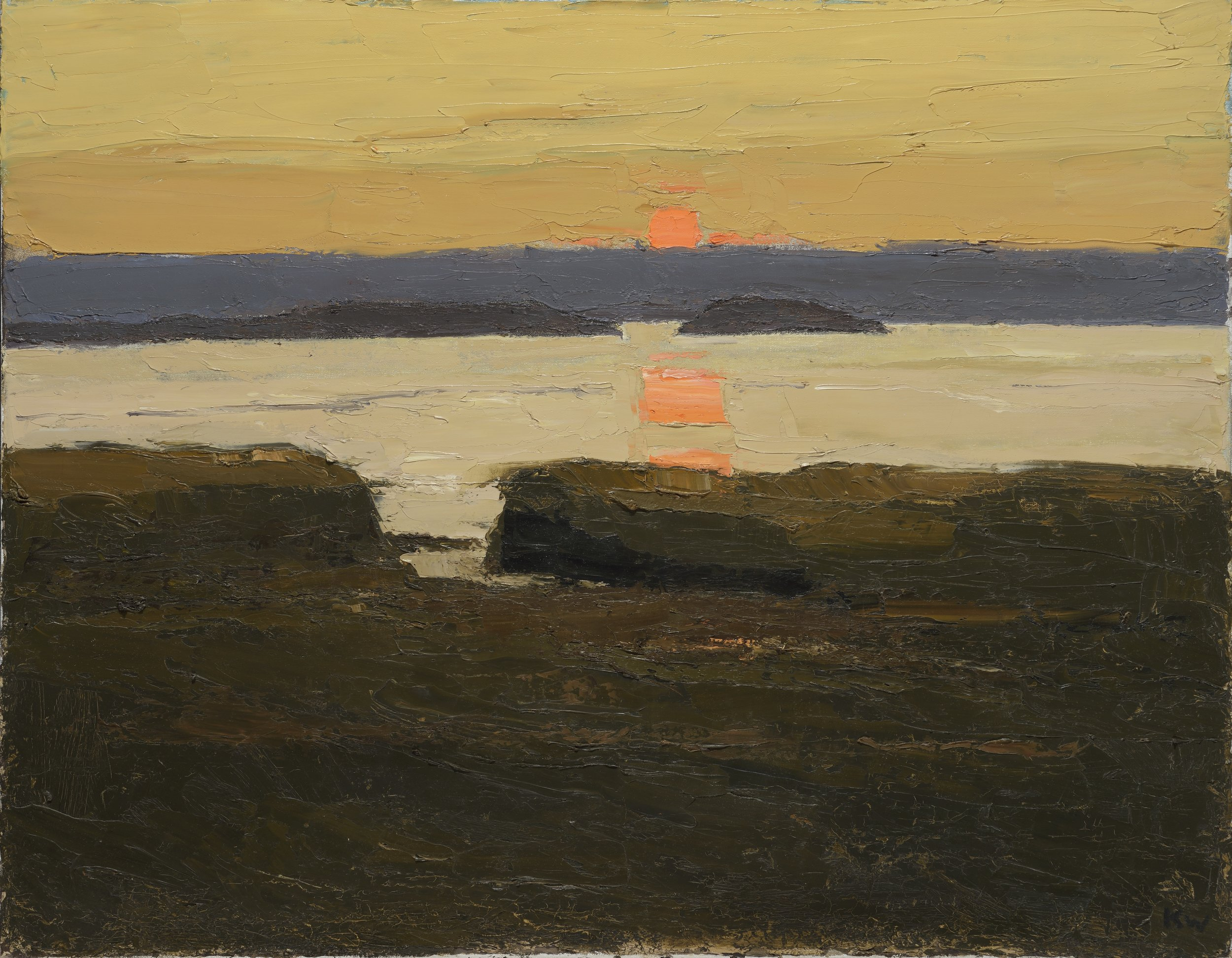 Sir Kyffin Williams RA (1918-2006)  Sunset over Penmon , Jerwood Collection. © By permission of Llyfrgell Genedlaethol Cymru/The National Library of Wales.