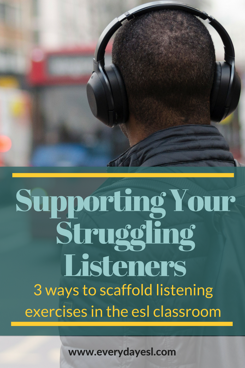 Supporting Struggling Listeners: 3 Ways to Scaffold Listening Exercises in the ESL Classroom | Everyday ESL | Adult ESL | Teaching English | Listening Exercises | Listening Comprehension | Adult ESL Listening | Beginner Listening Activities
