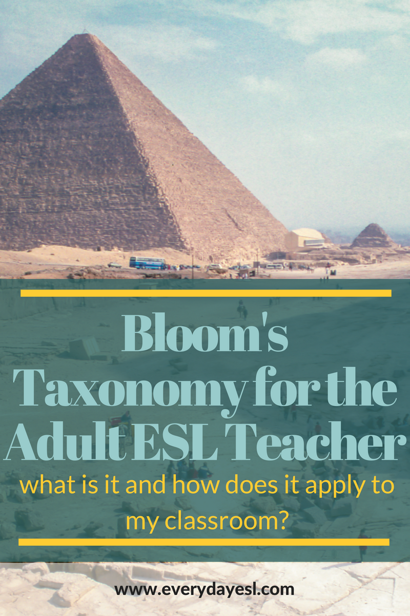 Bloom's Taxonomy for the Adult ESL Teacher: What is it and How Does it Apply to My Classroom? | Everyday ESL | Adult ESL | Teaching English | Bloom's Taxonomy for ESL | ESL Activities | How to Teach English | ESL Lesson Planning