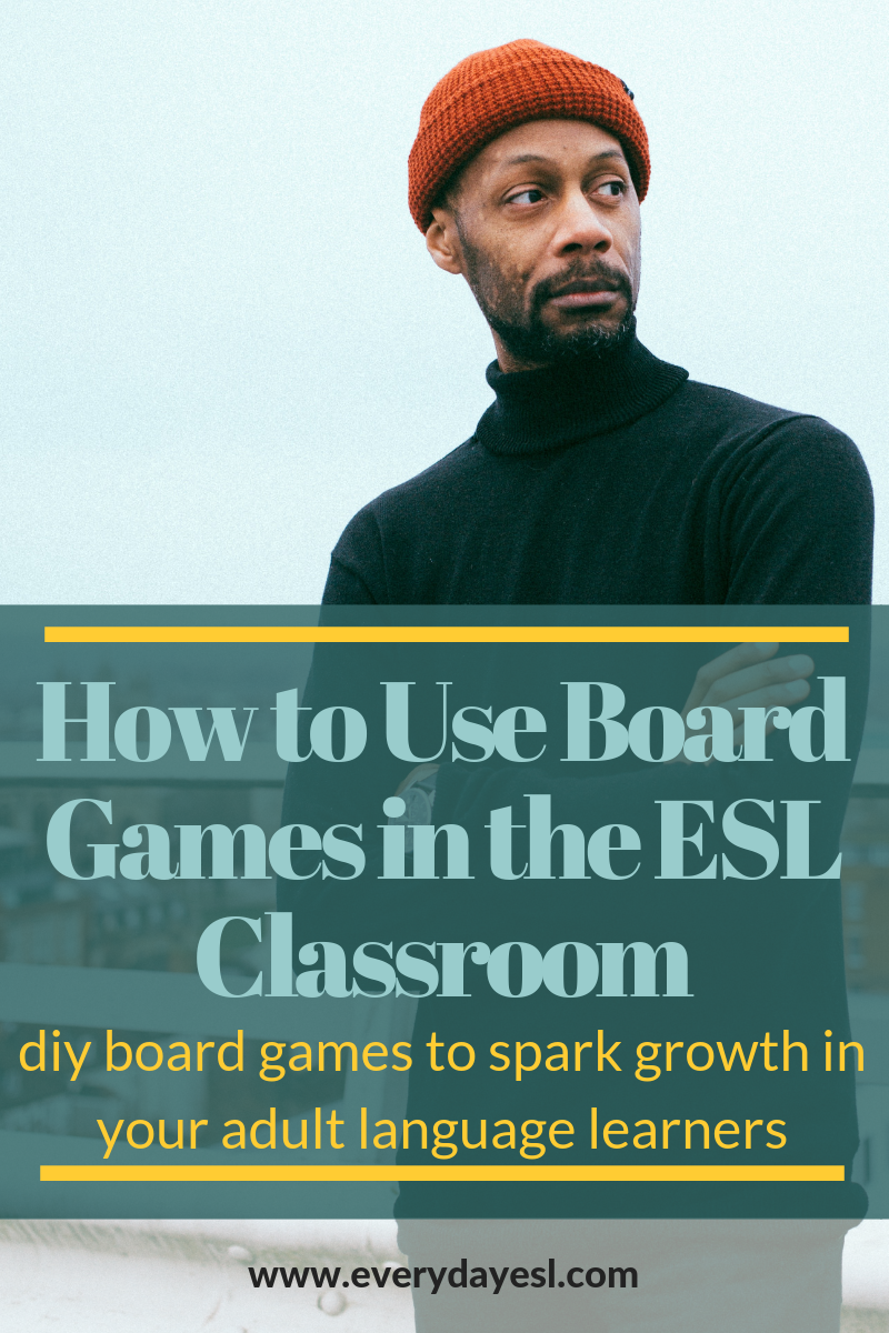 ESL Games for Adults: DIY Board Games | Everyday ESL | Adult ESL | ESL Activities for Adults | Games for ESL | ESL Games | Board Games for Language Learning