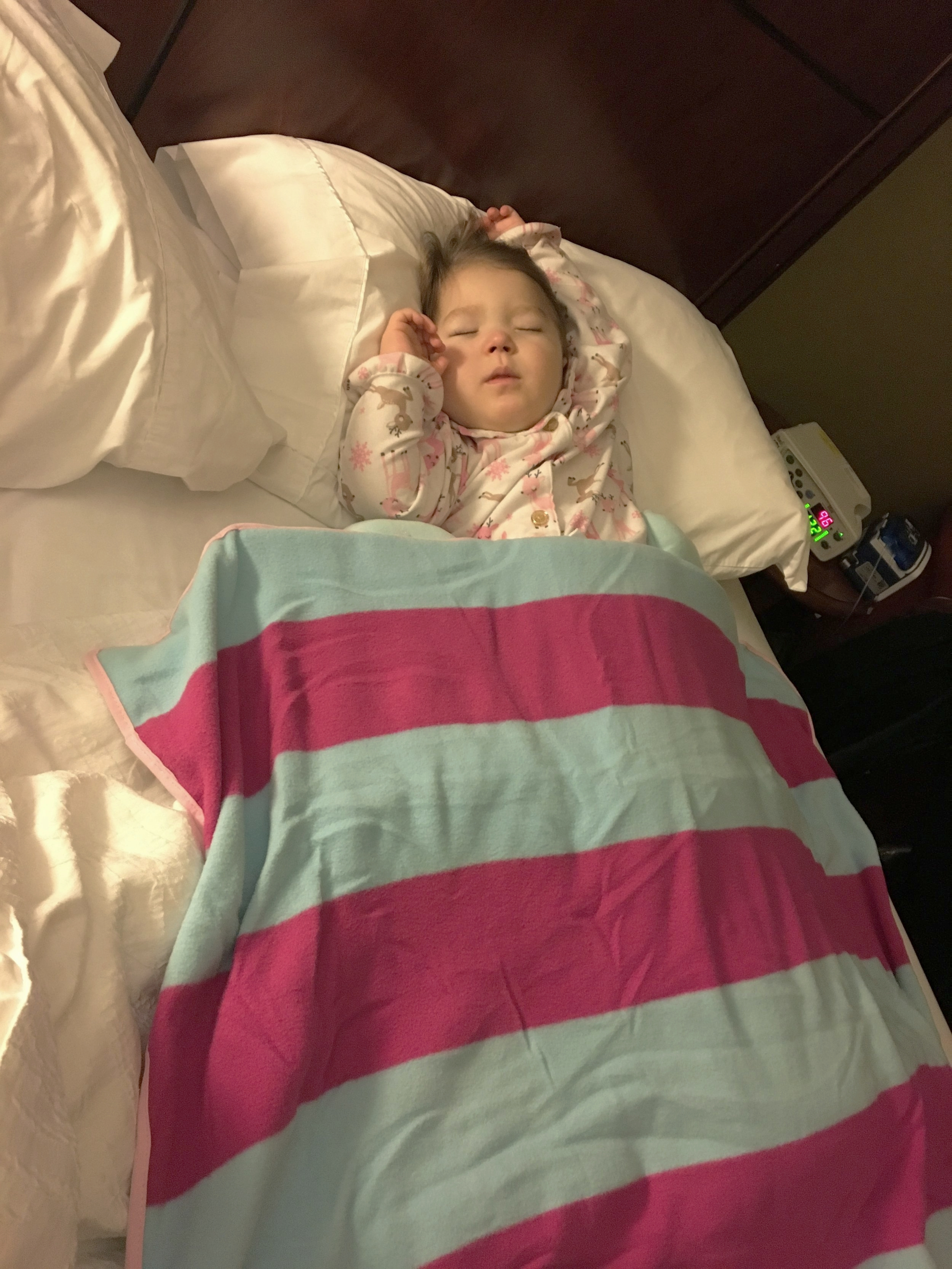 Sleeping after a long day of testing at Duke Univeristy as part of the NIH's Undiagnosed Diseases Program. January, 2018
