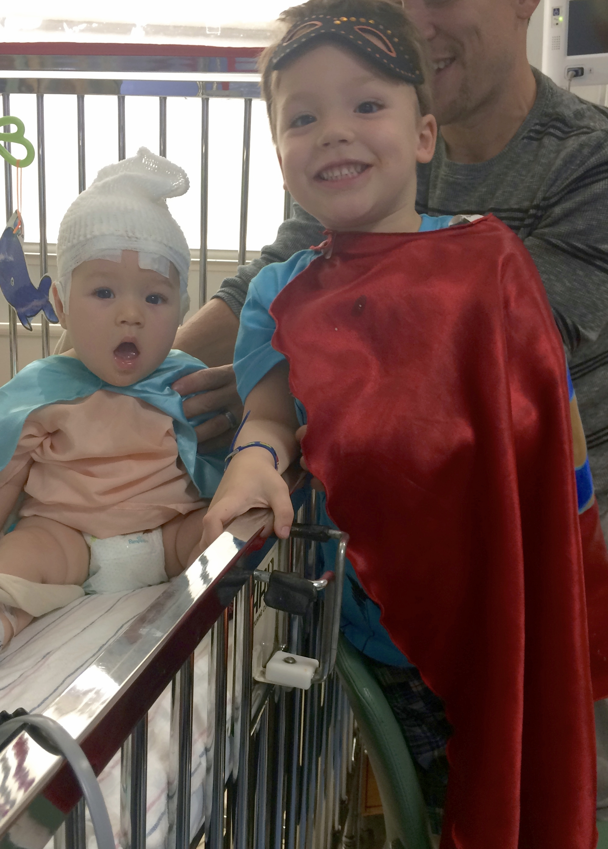 Superhero visit during Adelaide's first inpatient EEG, May 2016