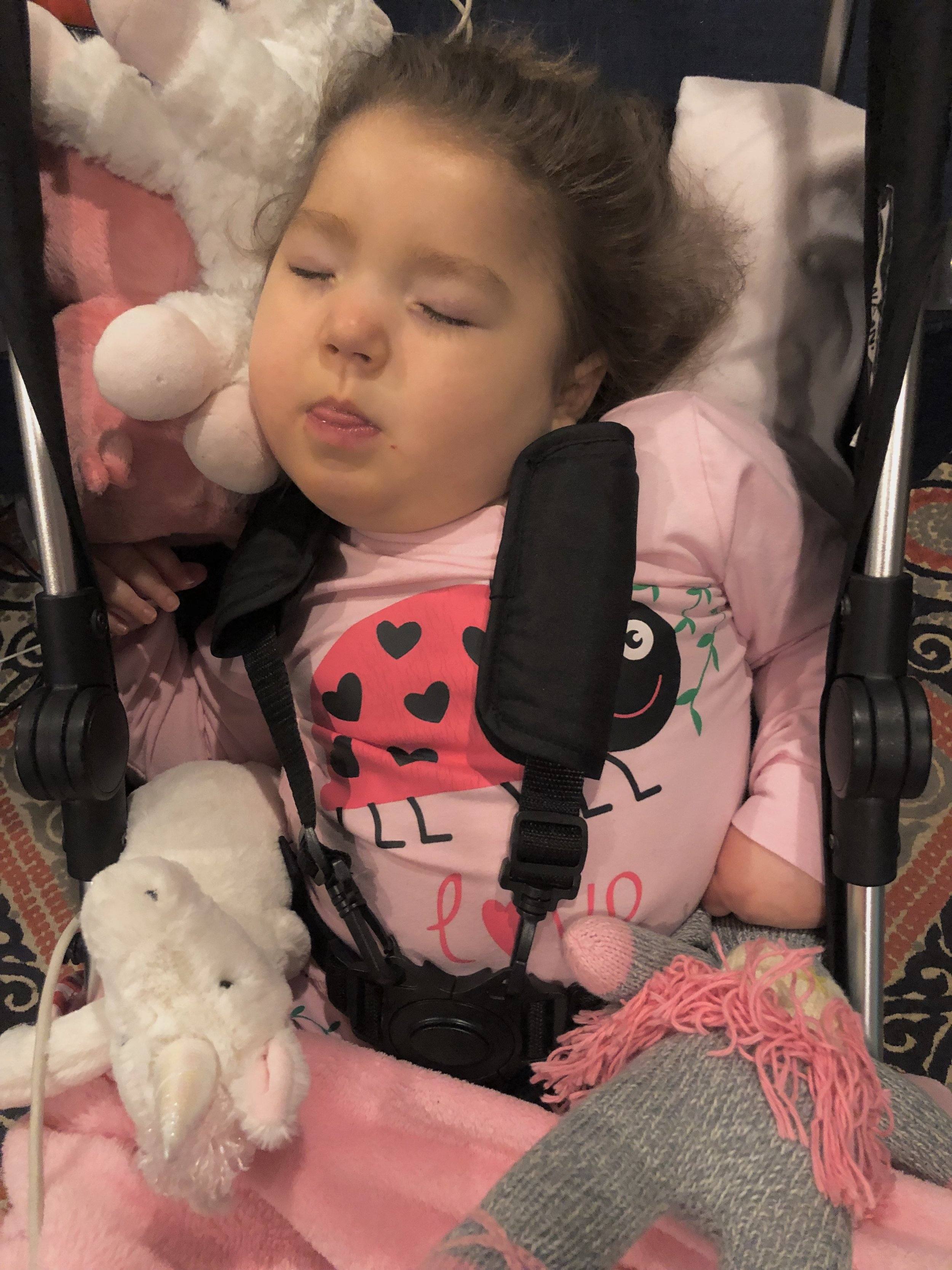 Cruising the hallways in her stroller seems to help some of the fussiness. Stuffed animals also clearly help.