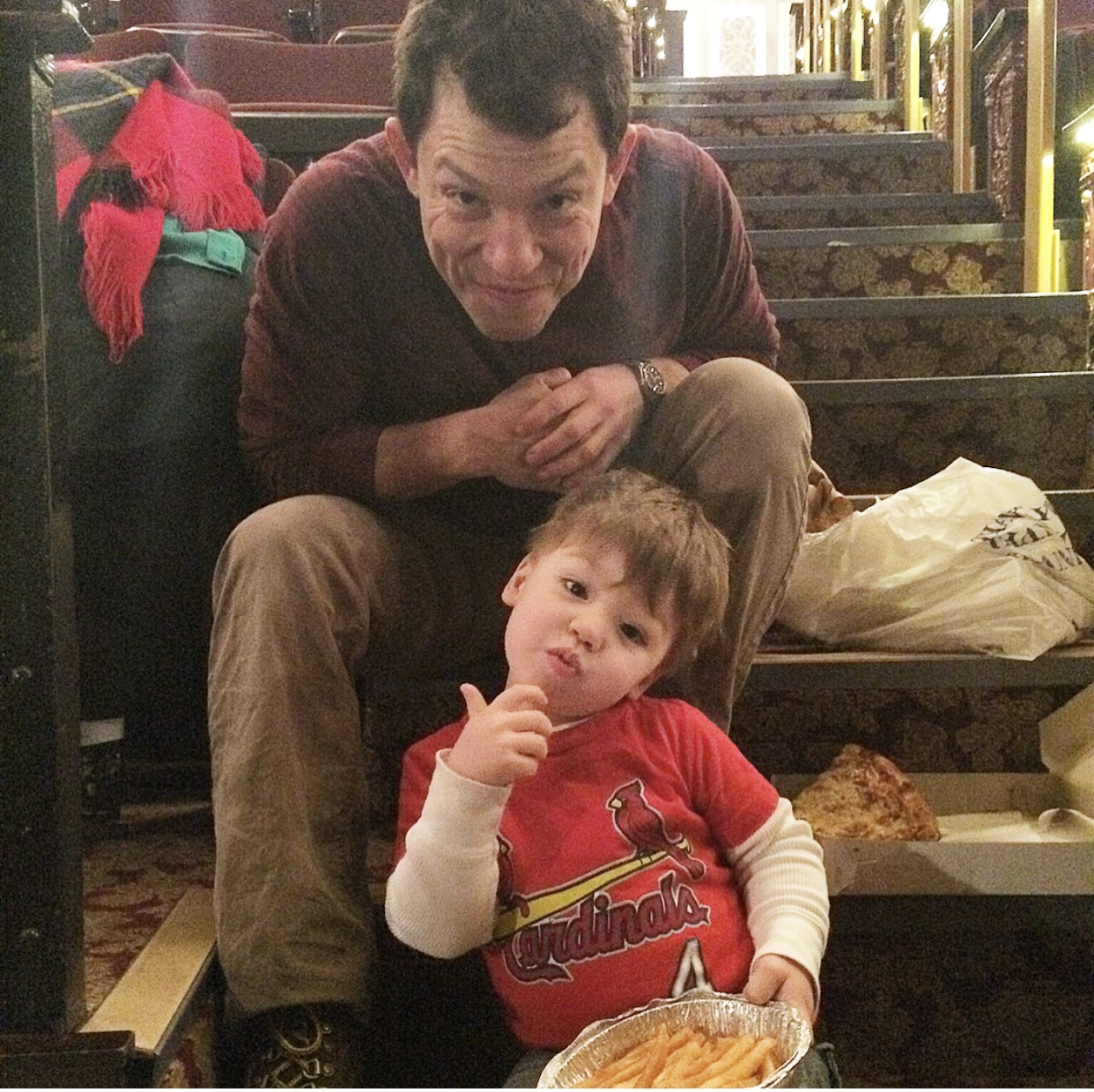 3/7/2015 Pizza dinner with Daddy at the Richard Rogers Theater in NYC