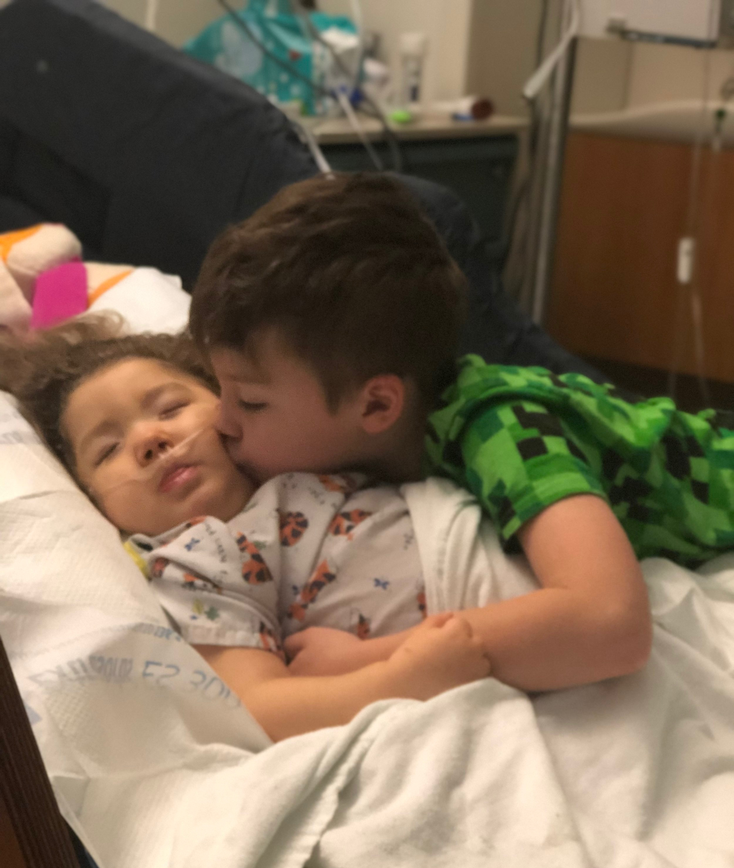 Visit from big brother at the hospital, June 2019