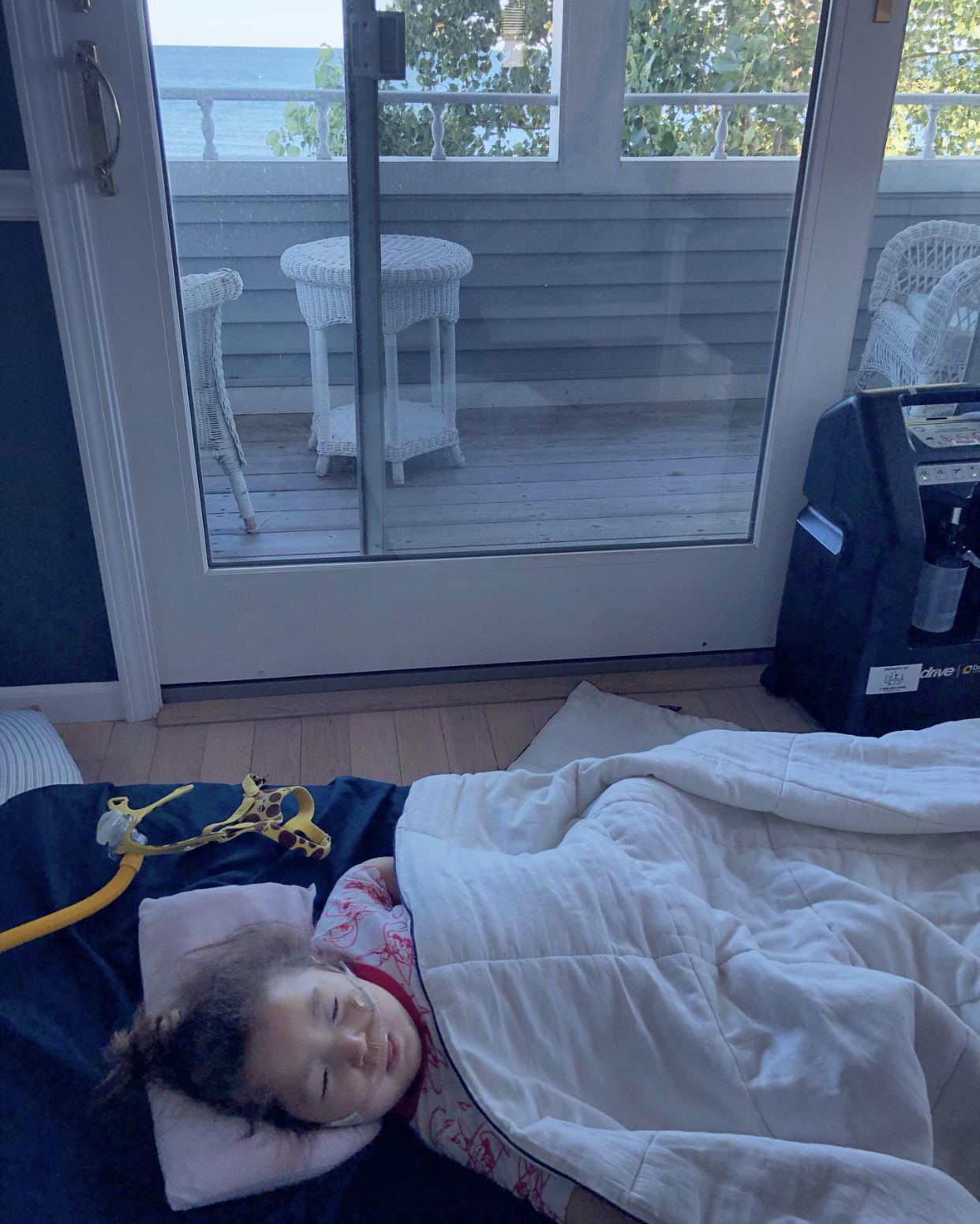 Sleeping Beauty and the Lake (bi-pap mask and oxygen concentrator also pictured), August 2019