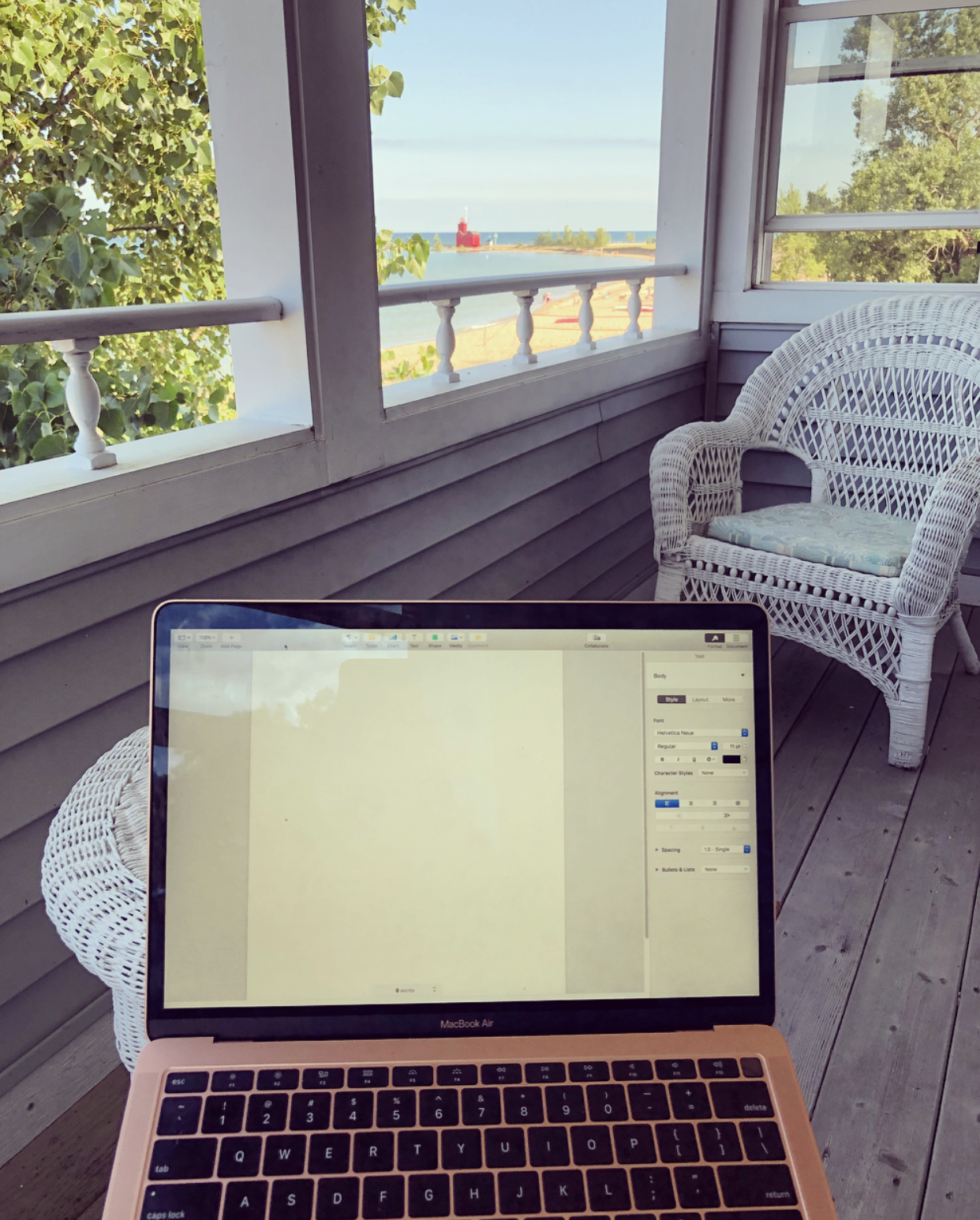 The blank page from my perch in Michigan just before I started writing the book July 2019